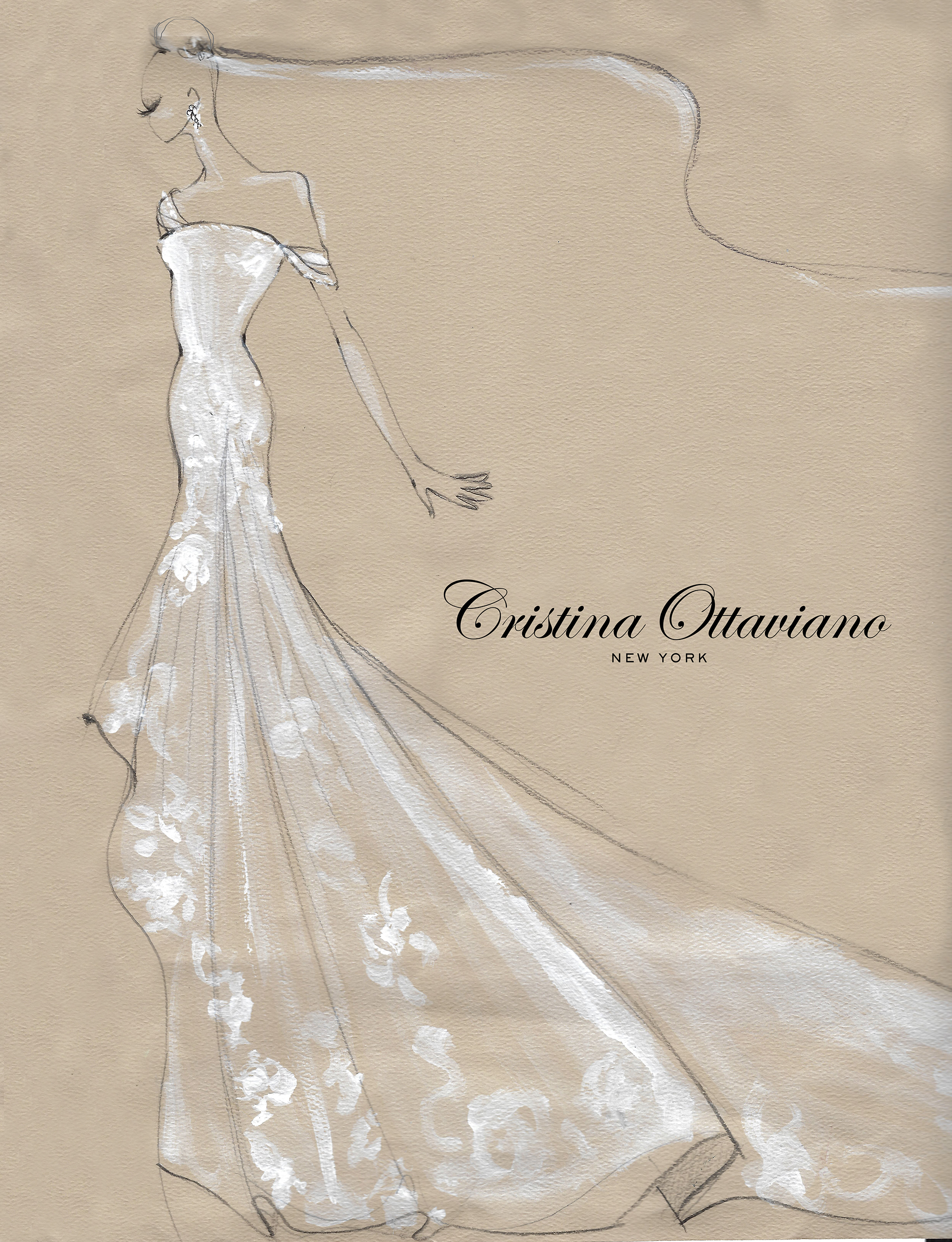 Cristina Ottaviano Fall 2019 Bridal Fashion Week Sketch