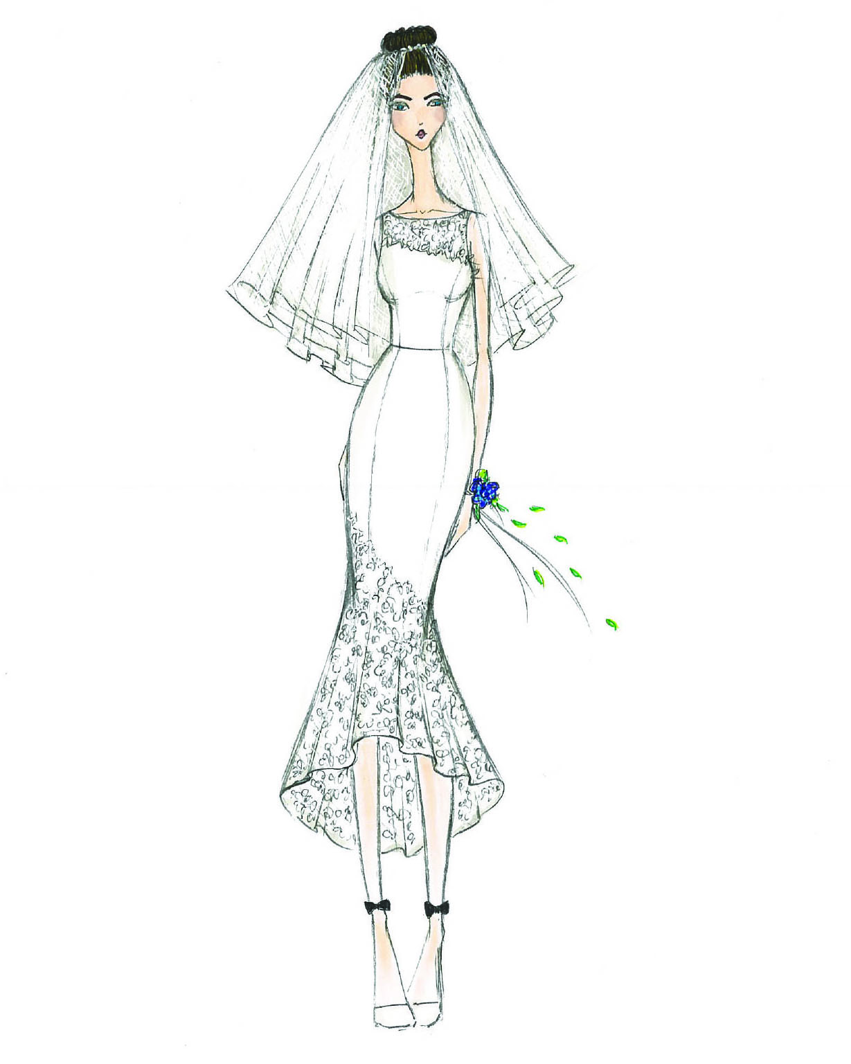 bridal fashion week sketches fall 2019 db studio