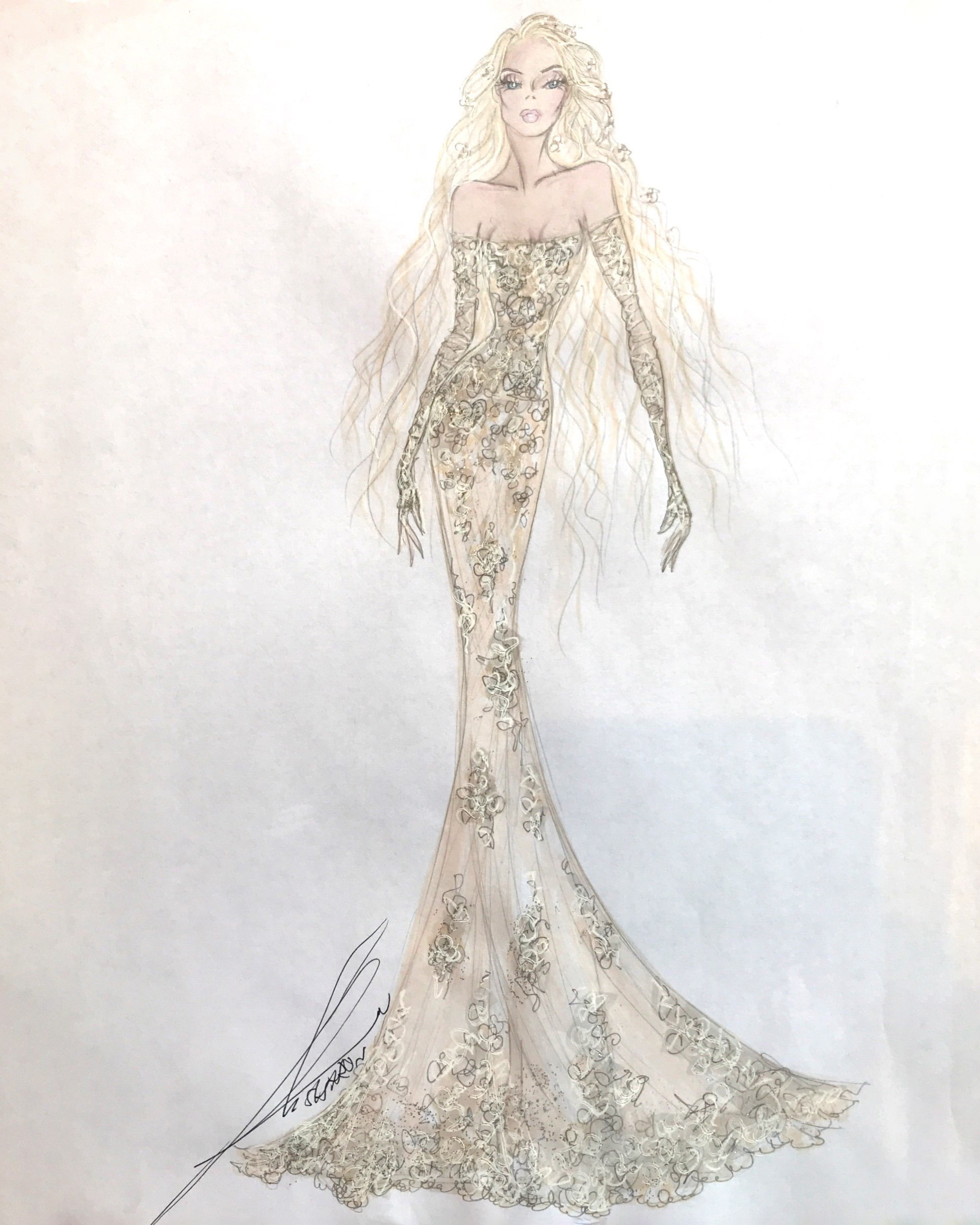 bridal fashion week sketches fall 2019 galia lahav couture