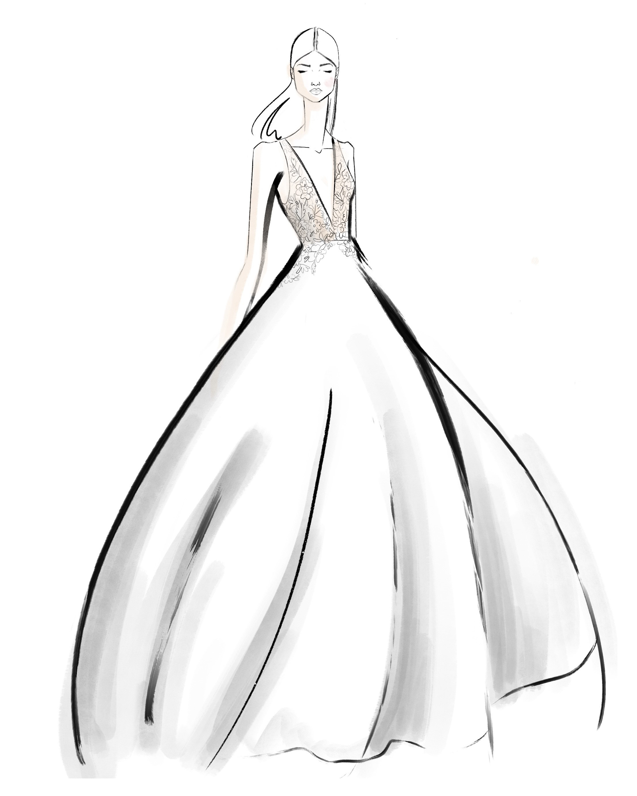 bridal fashion week sketches fall 2019 jenny yoo collection