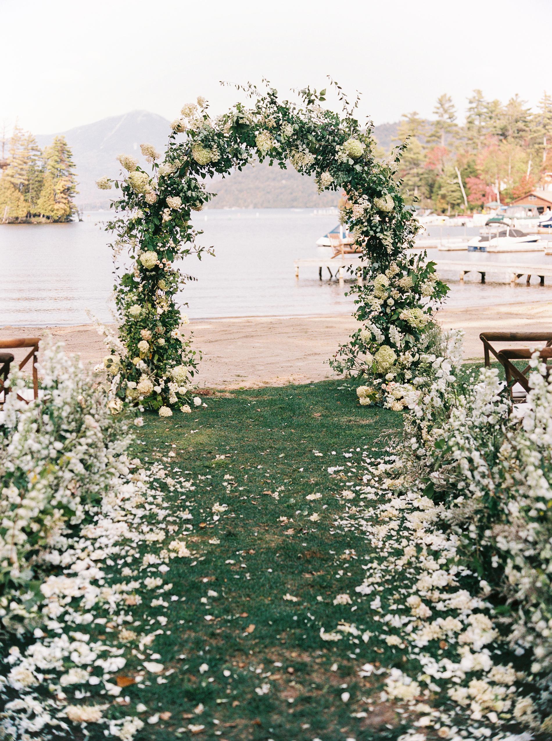 tory sean wedding lake placid new york ceremony arch
