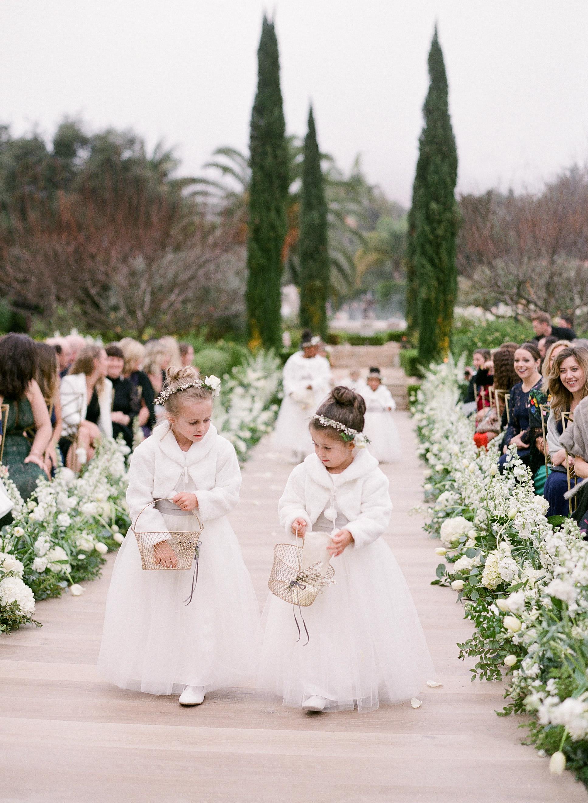 kelsey joc wedding santa barbara california flowergirls aisle