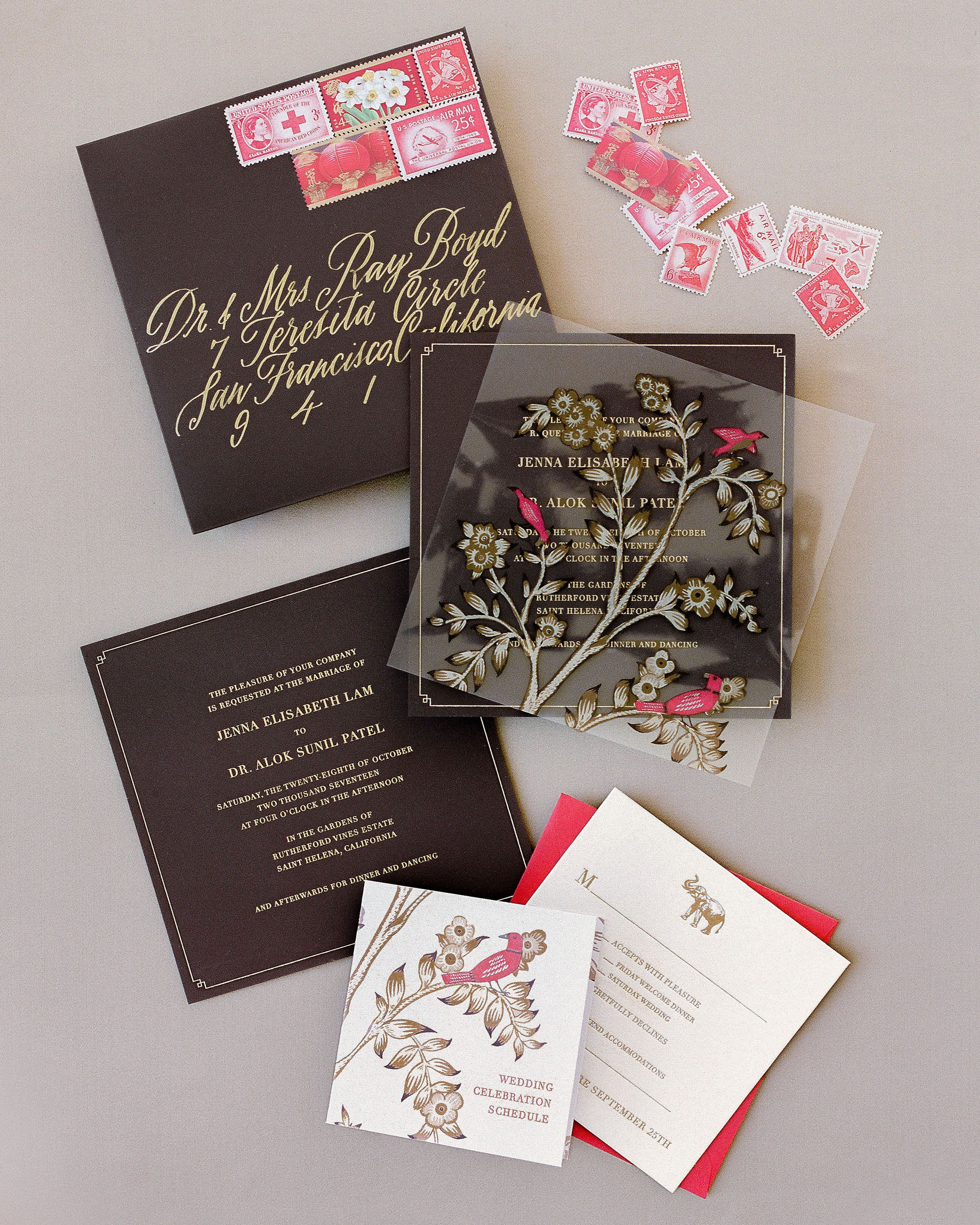 jenna alok wedding wine country california invitation suite