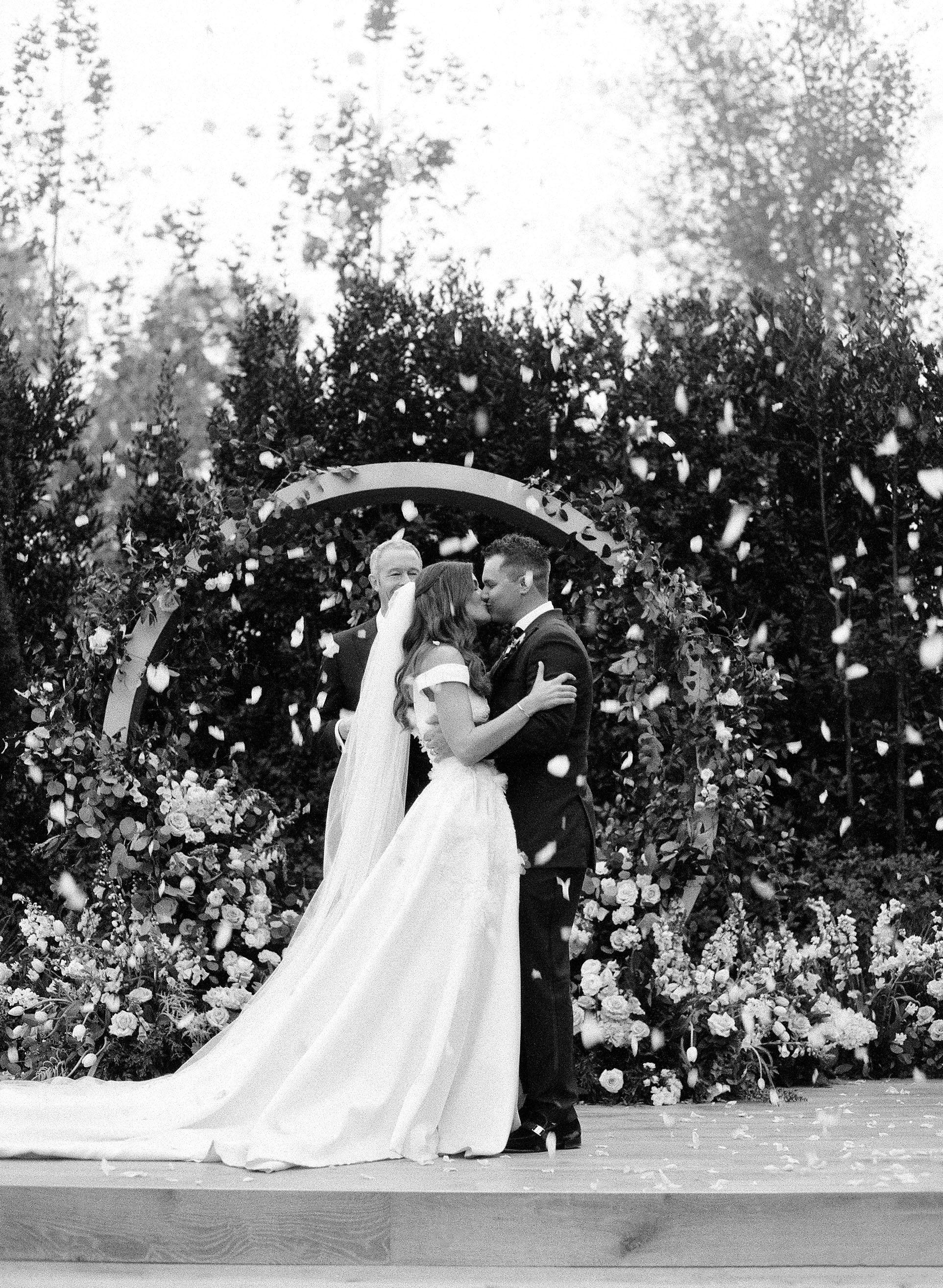 kelsey joc wedding santa barbara california ceremony kiss
