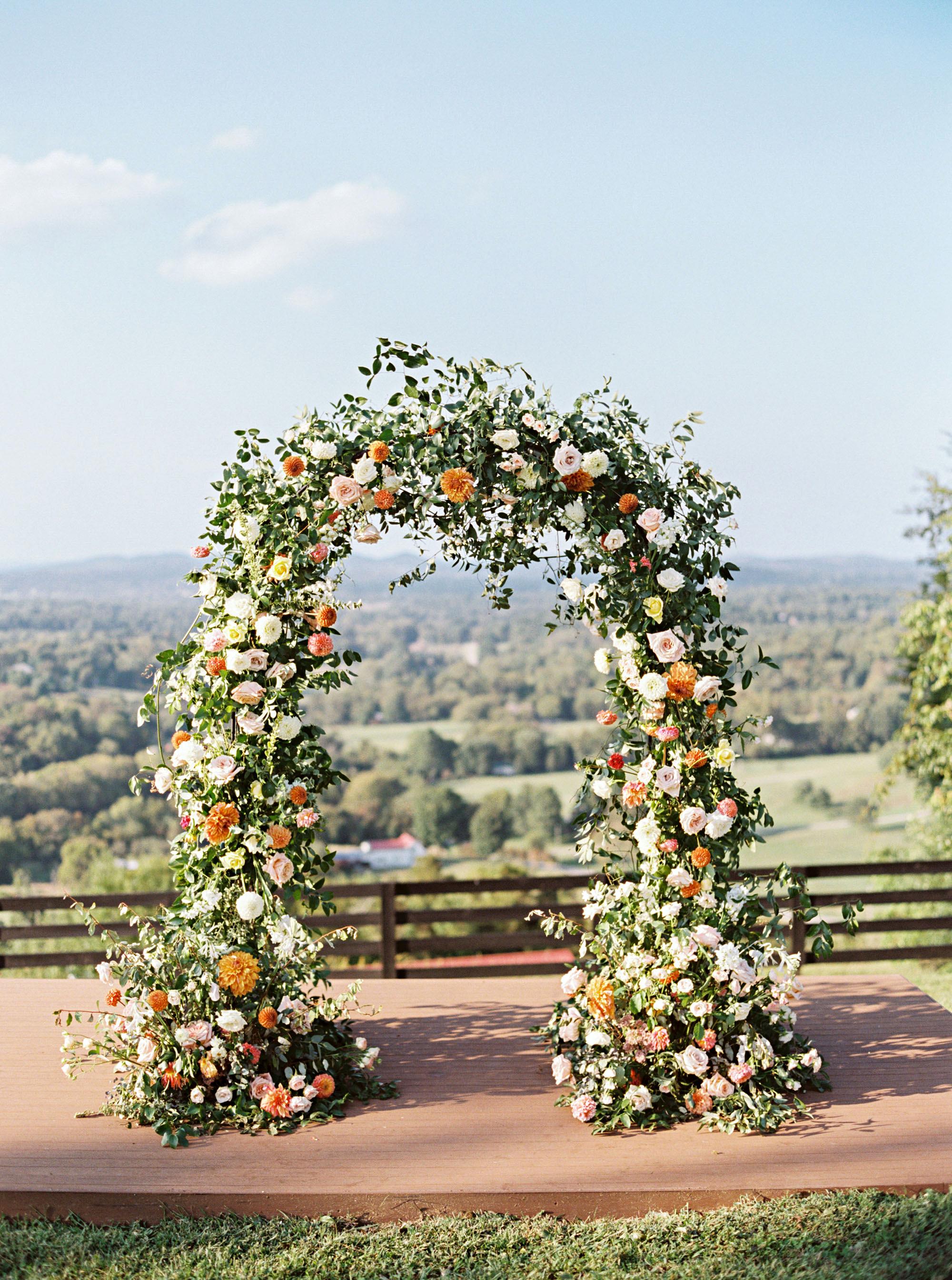 amanda william wedding tennessee floral arch