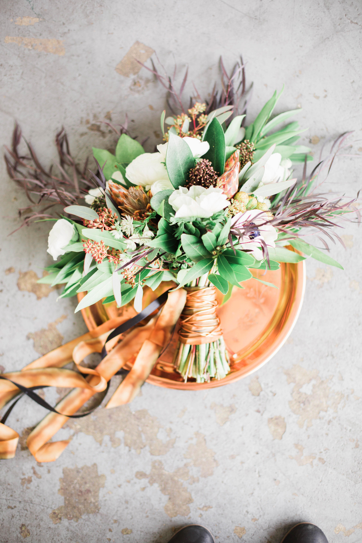 bouquet wraps ribbon flowers rustic platter