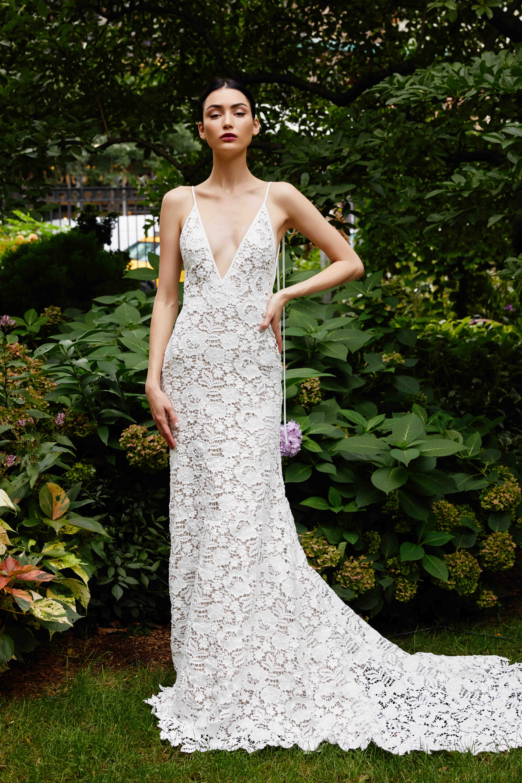 Lela Rose sheath lace wedding dress fall 2019