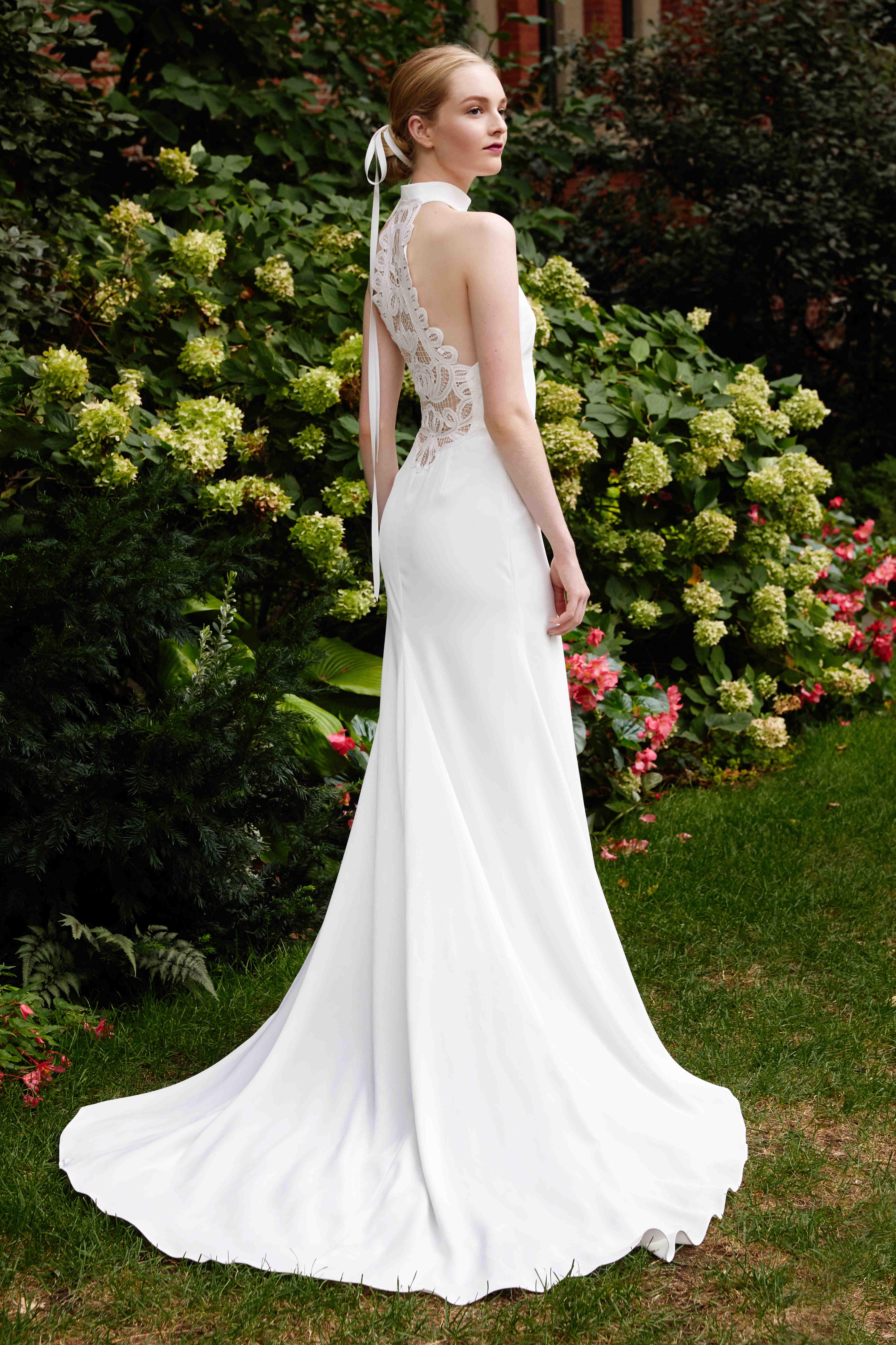Lela Rose sheath halter wedding dress fall 2019