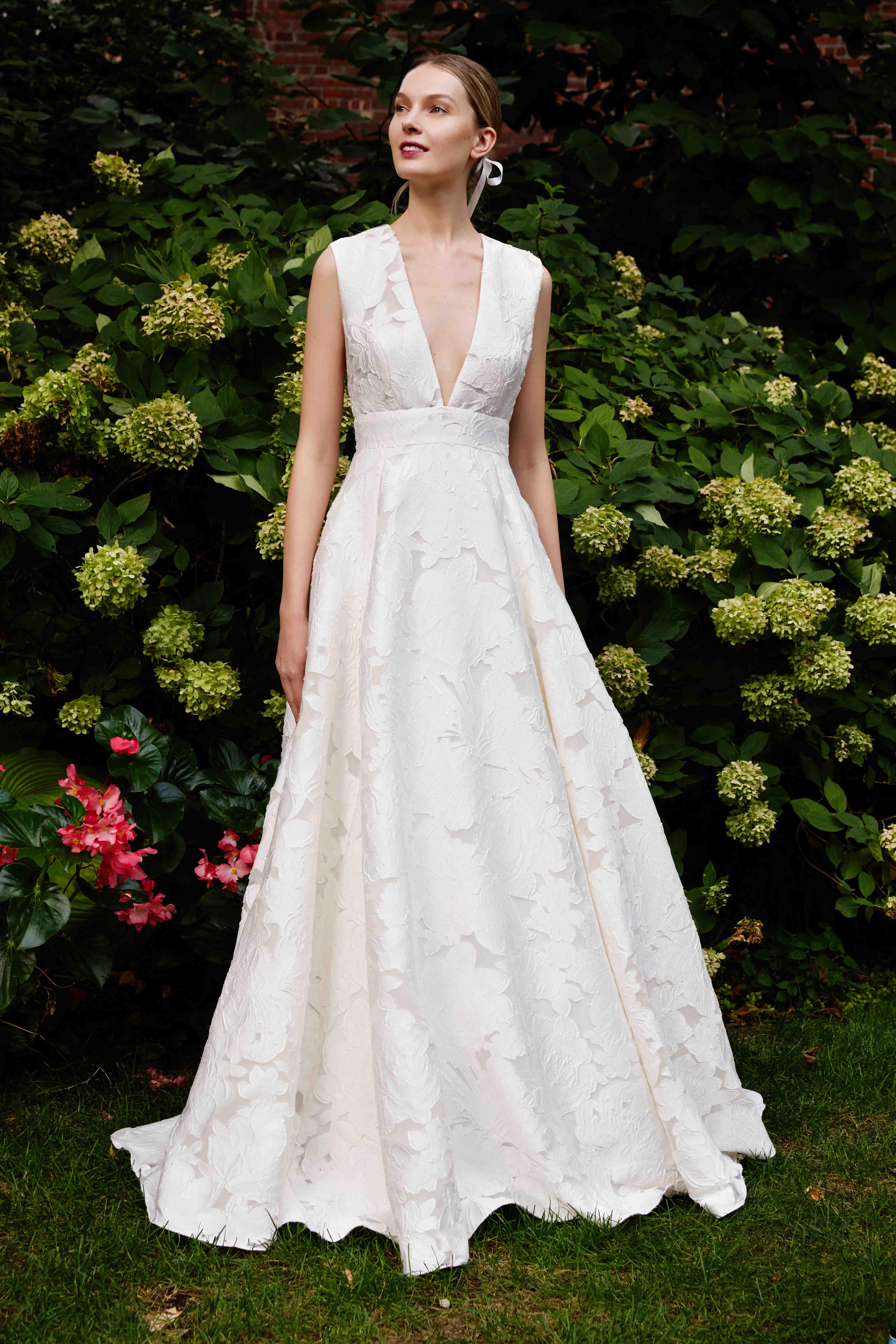 Lela Rose a-line v-neck wedding dress fall 2019