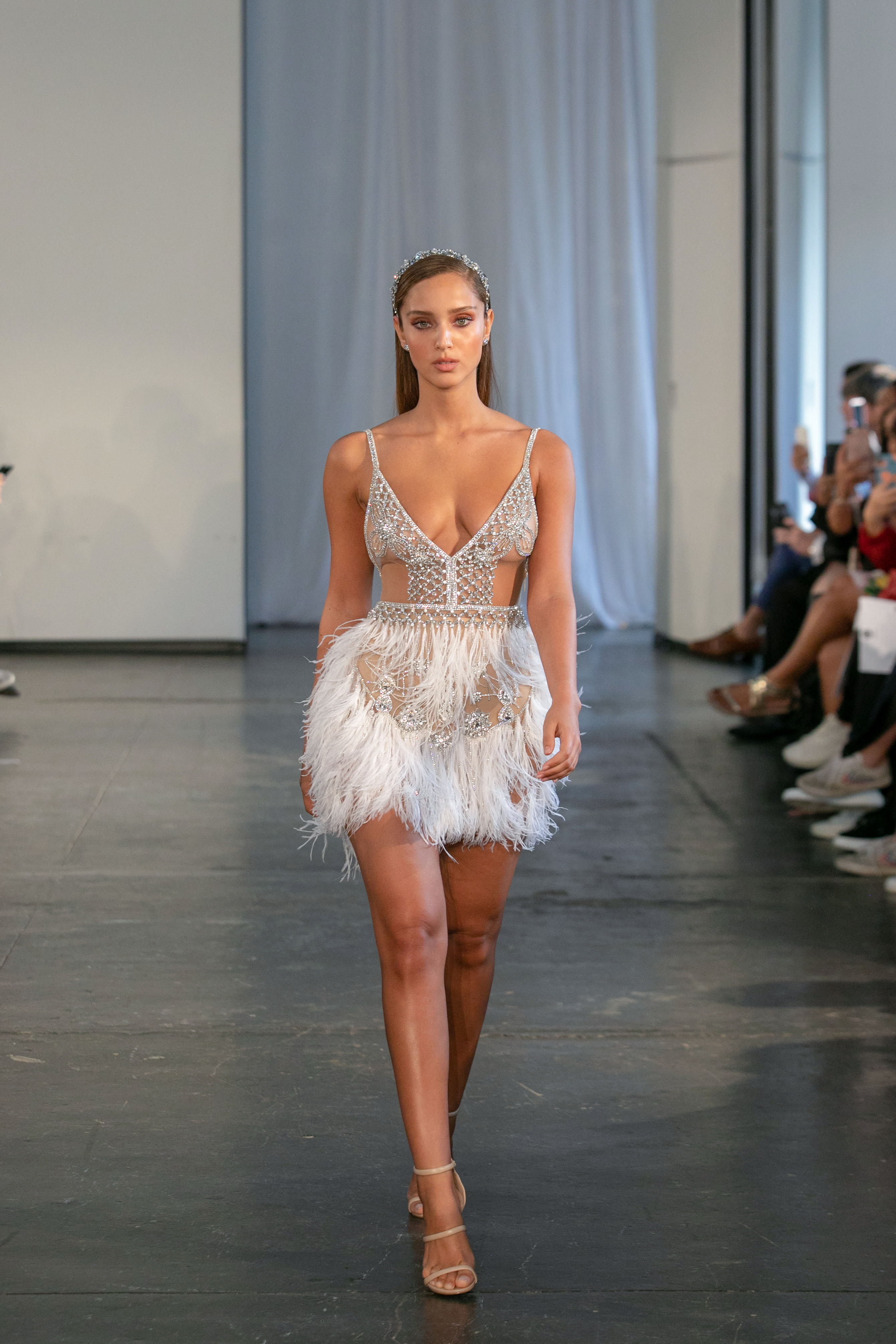 berta fall 2019 fringe short wedding dress