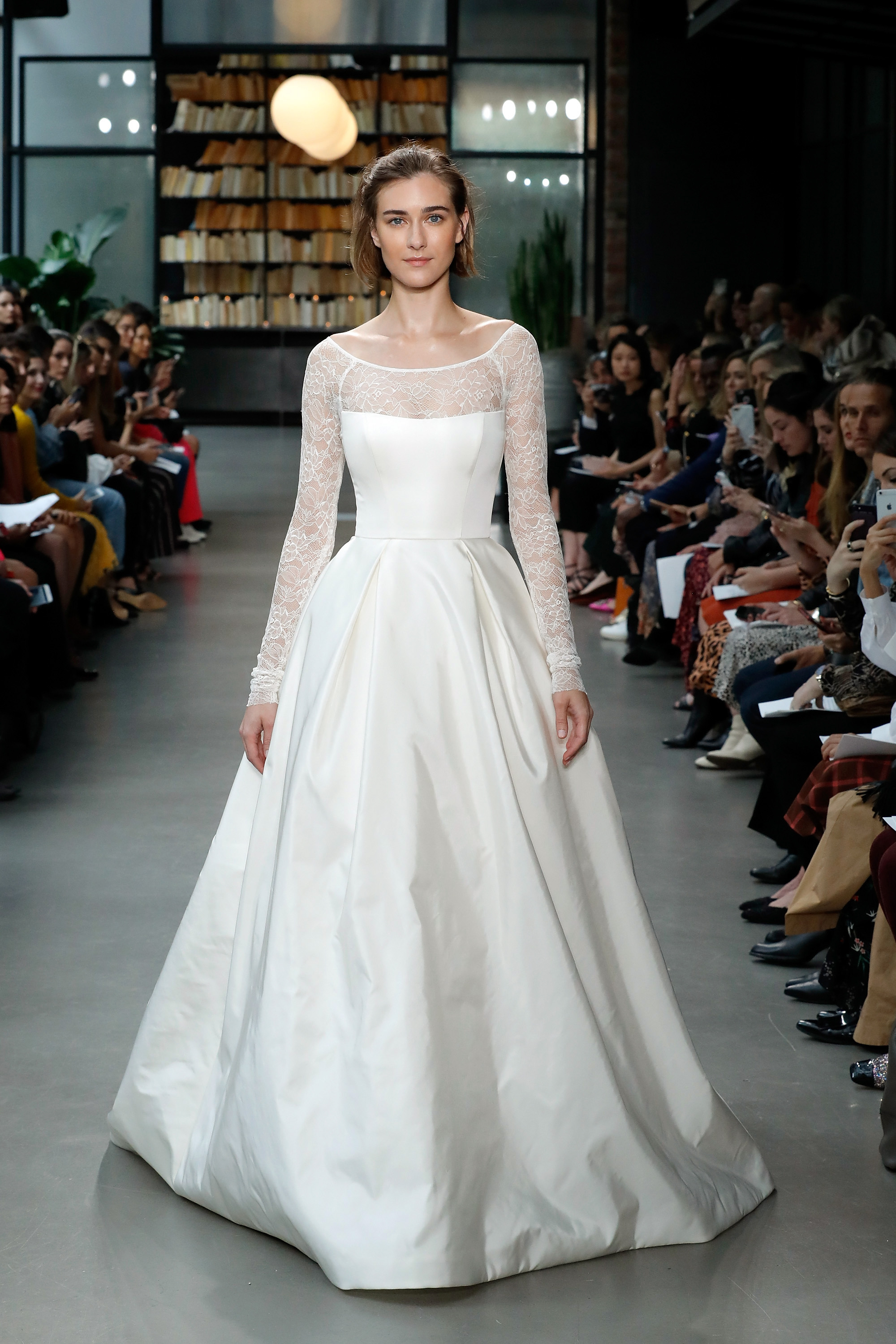 amsale fall 2019 illusion three-quarter sleeve ball gown wedding dress