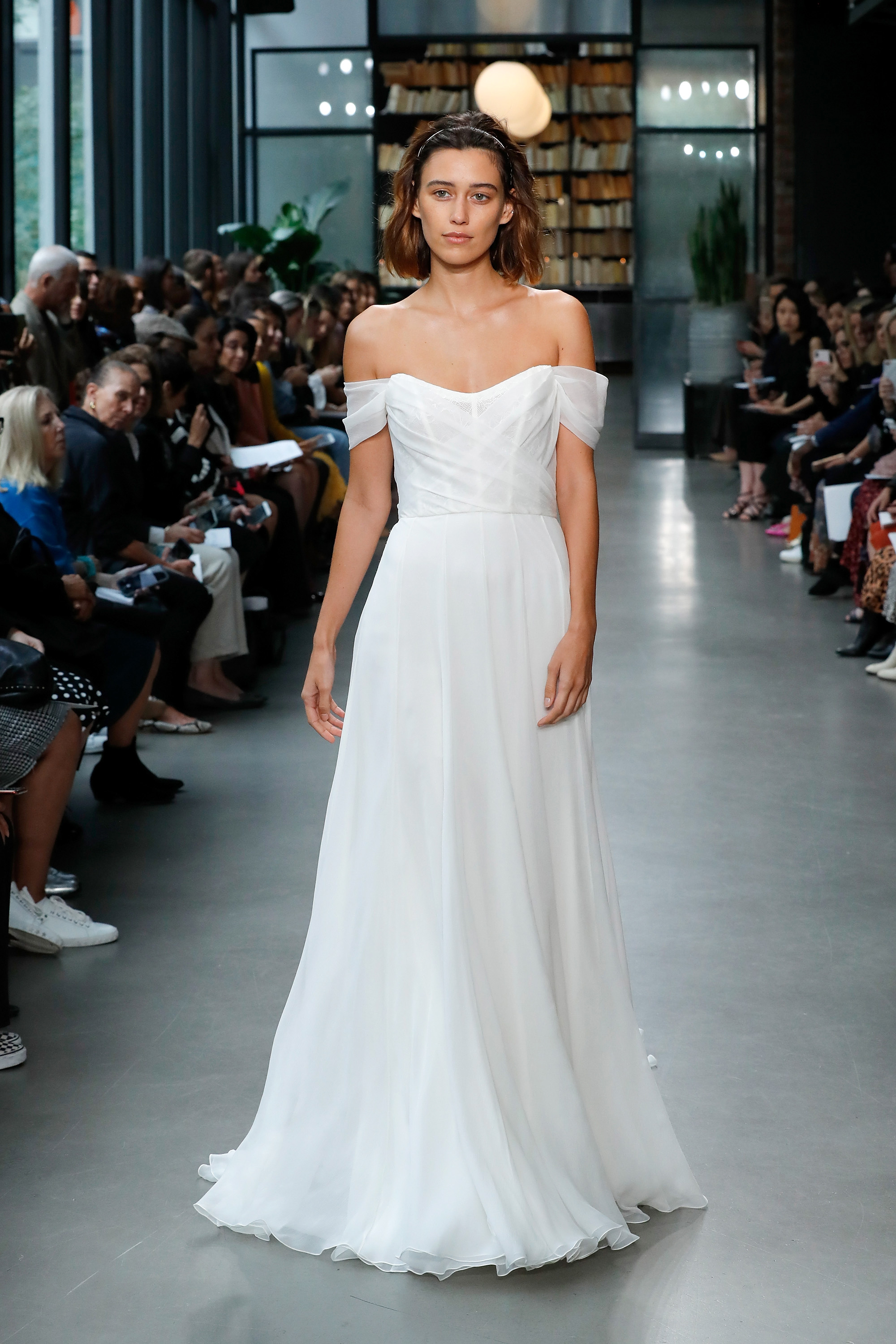 amsale fall 2019 off the shoulder vertical ruffles wedding dress