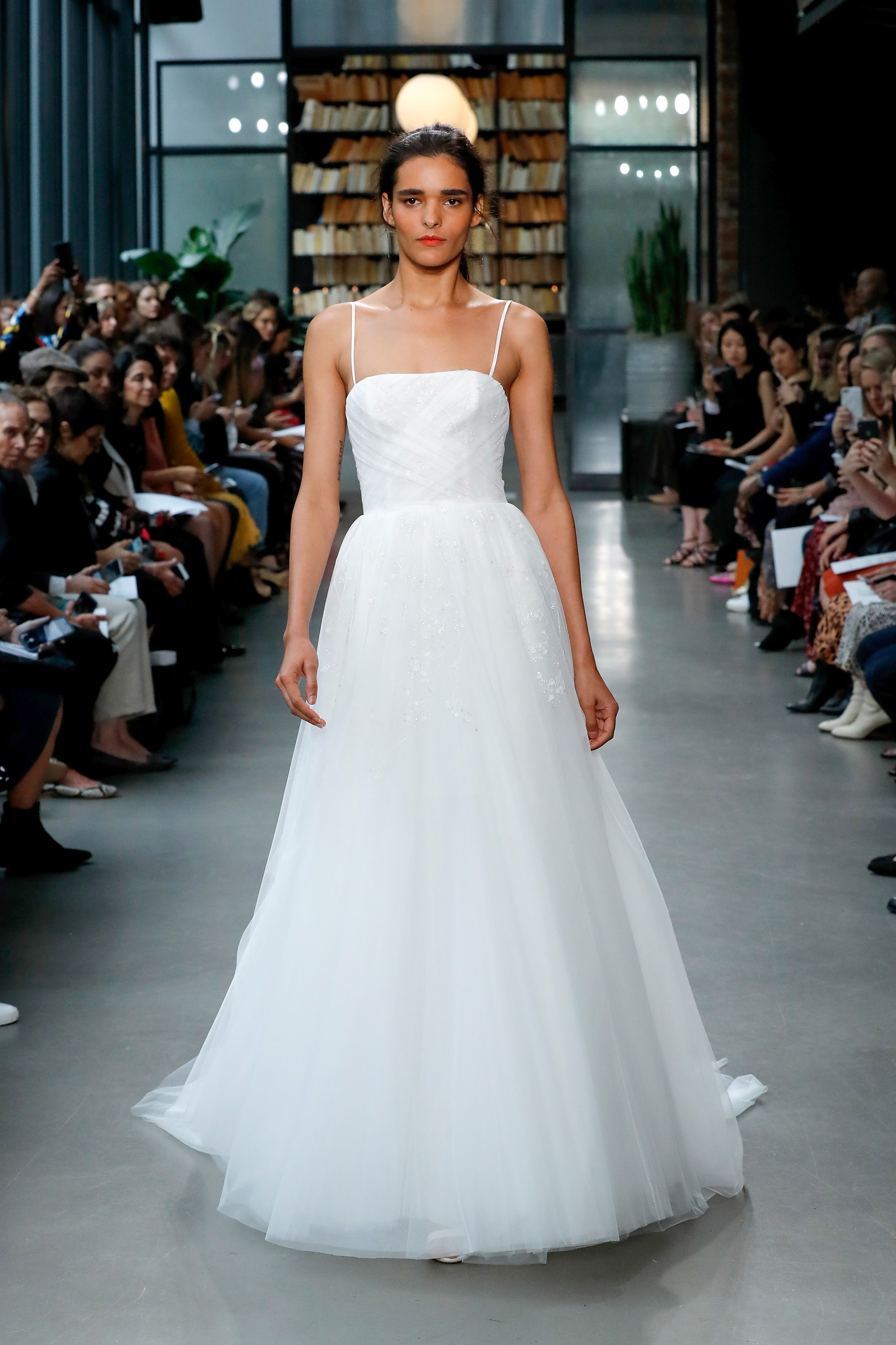 amsale fall 2019 spaghetti strap a-line wedding dress