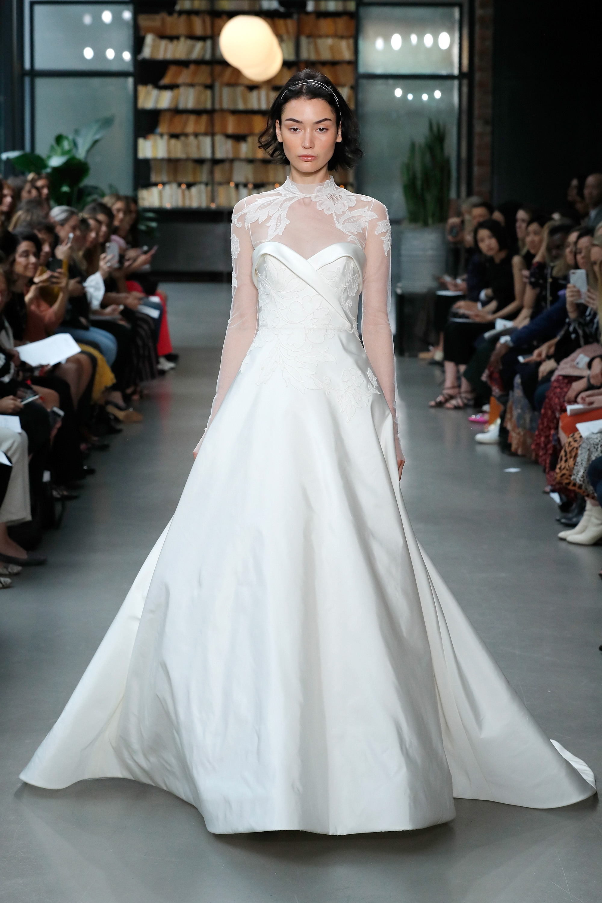 amsale fall 2019 illusion high neckline a-line wedding dress