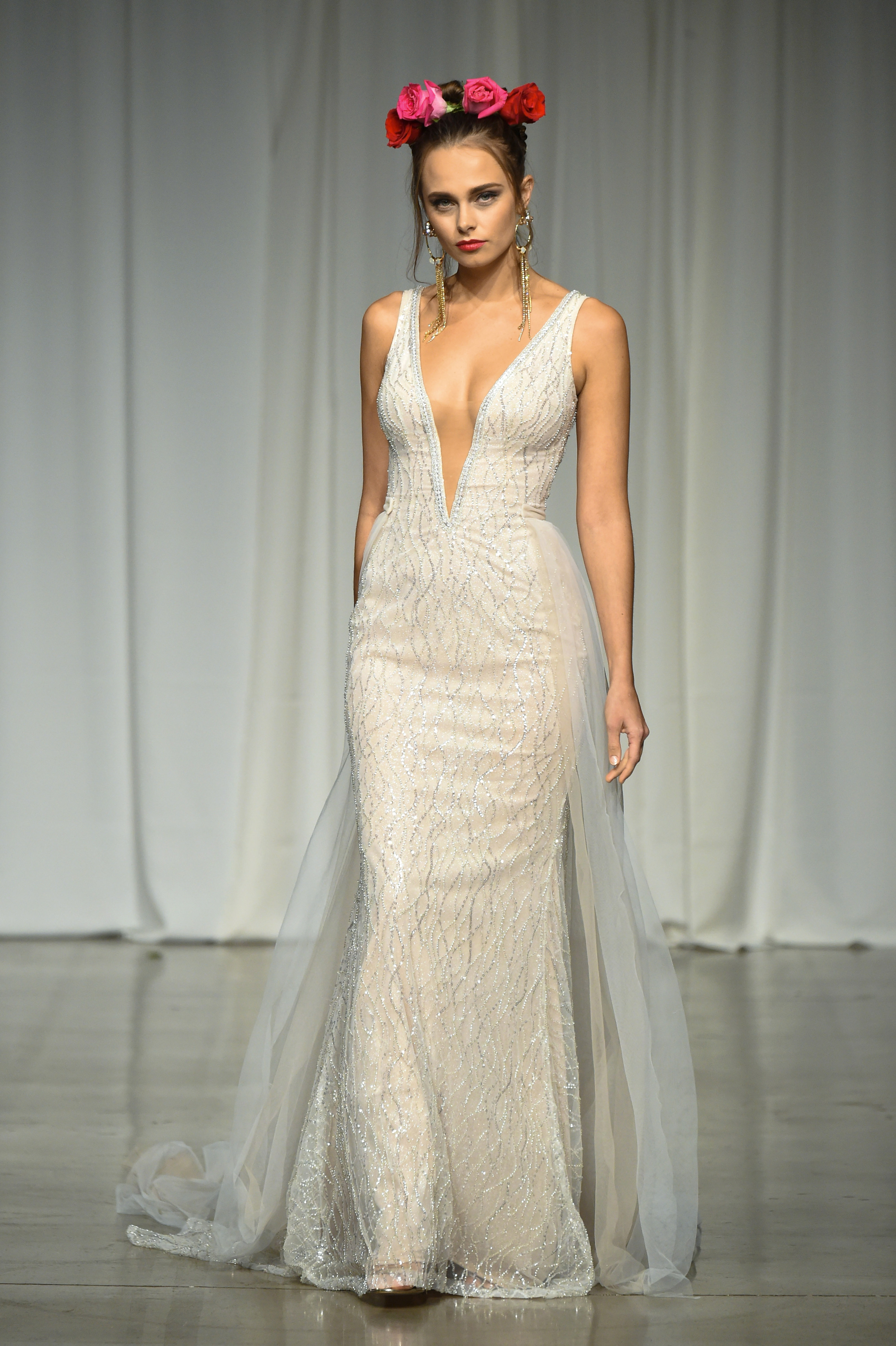 julie vino group fall 2019 sheath v-neck glitter wedding dress