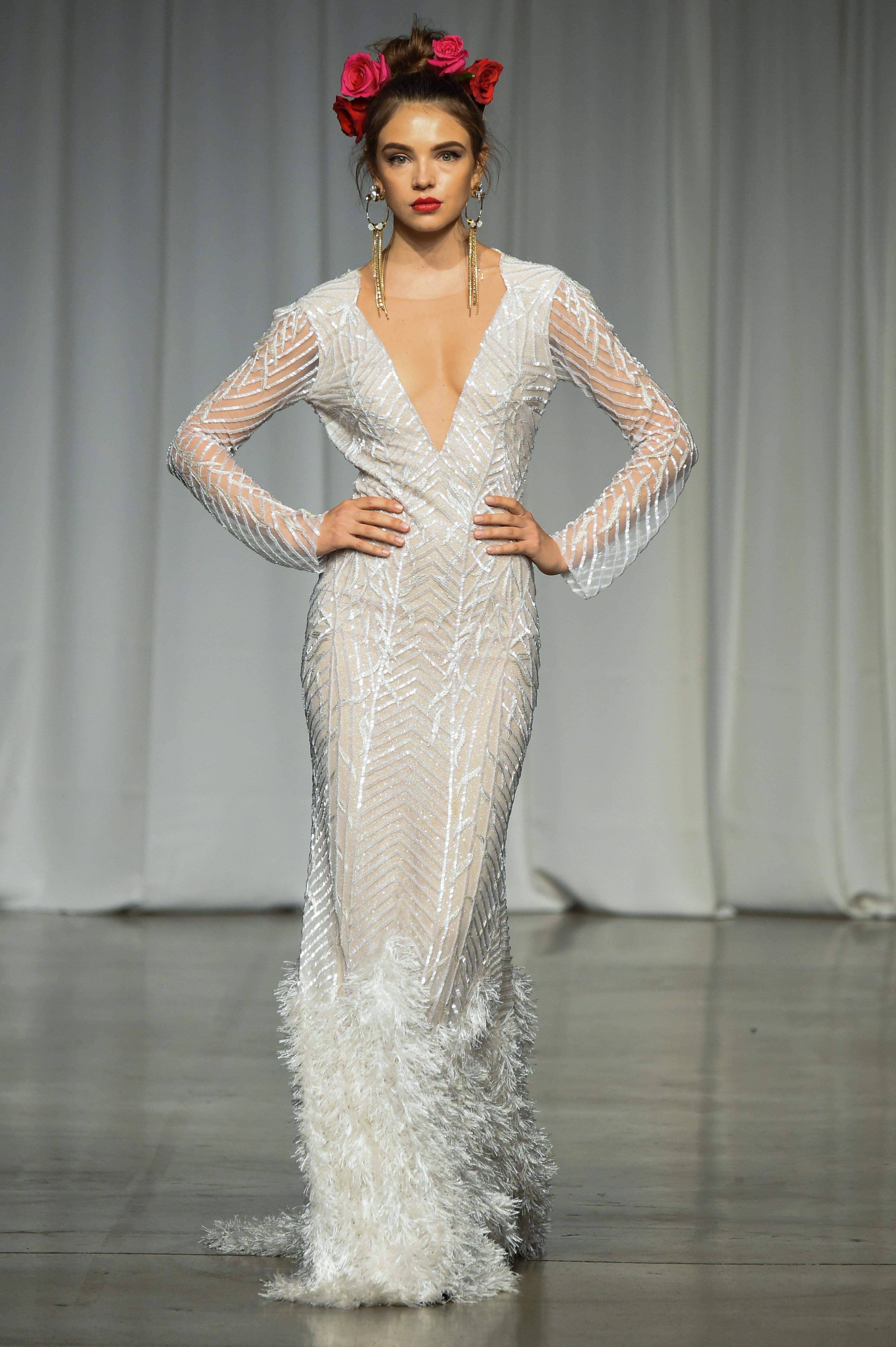 julie vino group fall 2019 sheath v-neck long sleeve wedding dress