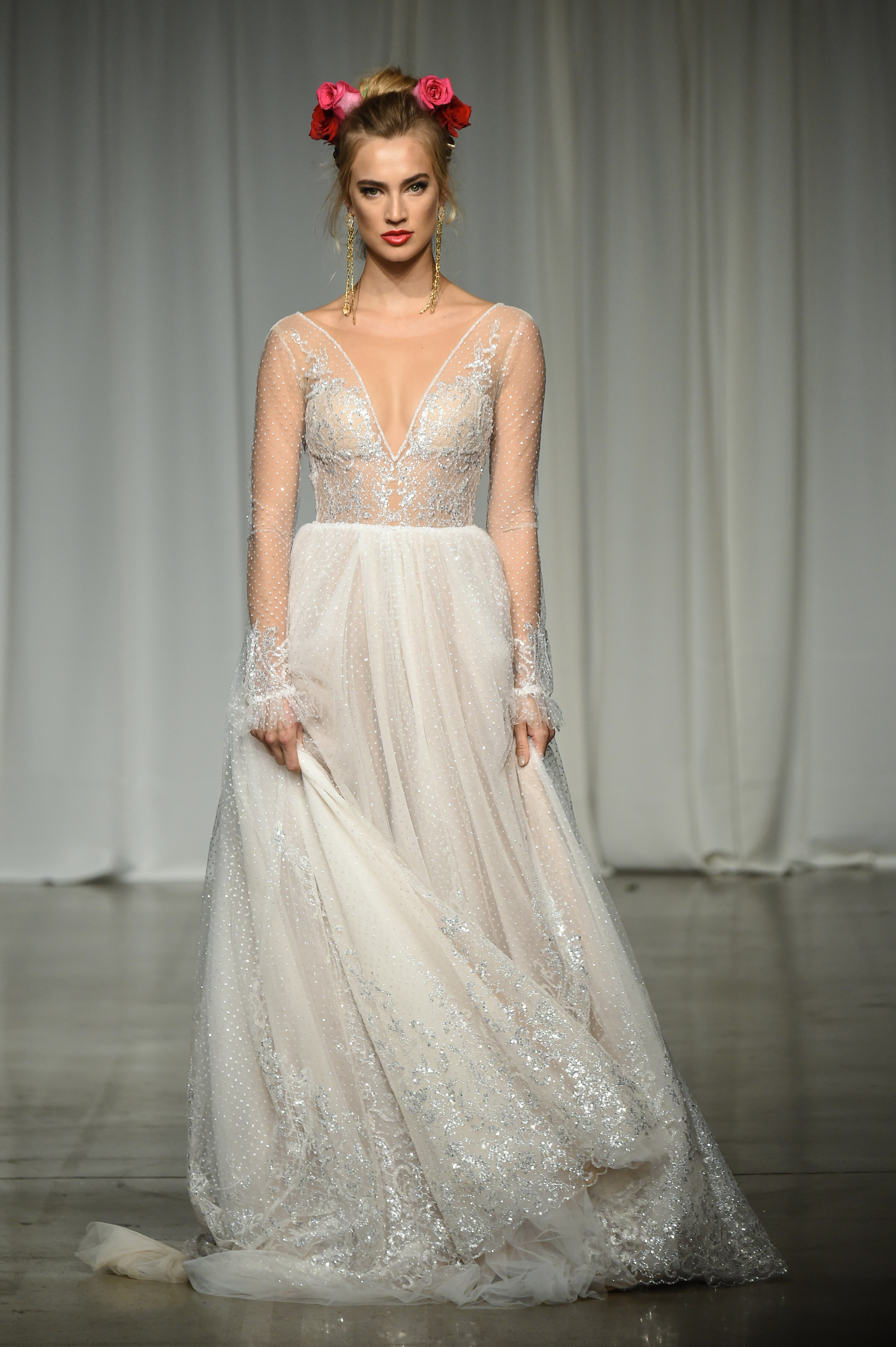 julie vino group fall 2019 sheer a-line glitter wedding dress