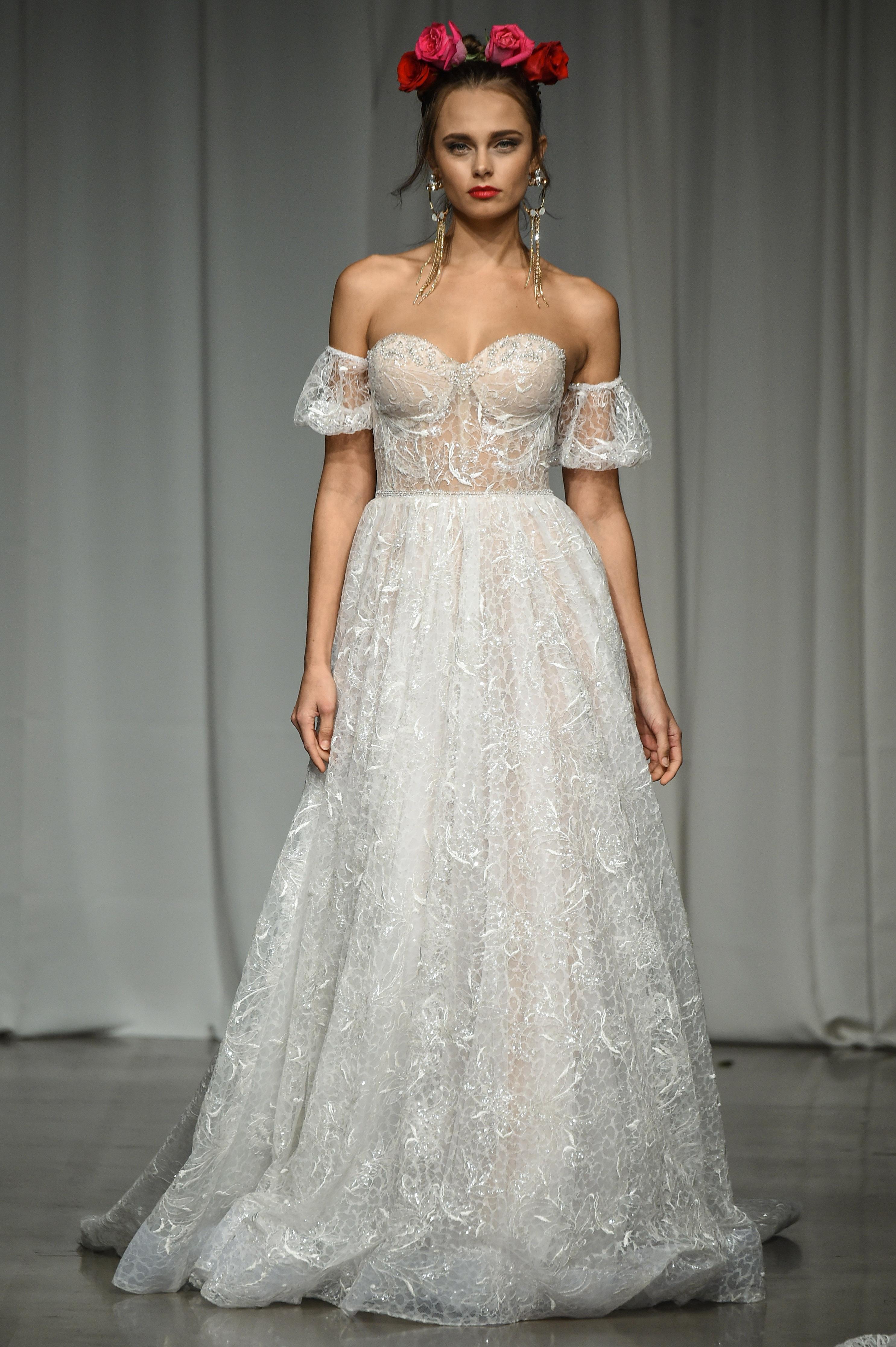 julie vino group fall 2019 over the shoulder corset a-line wedding dress