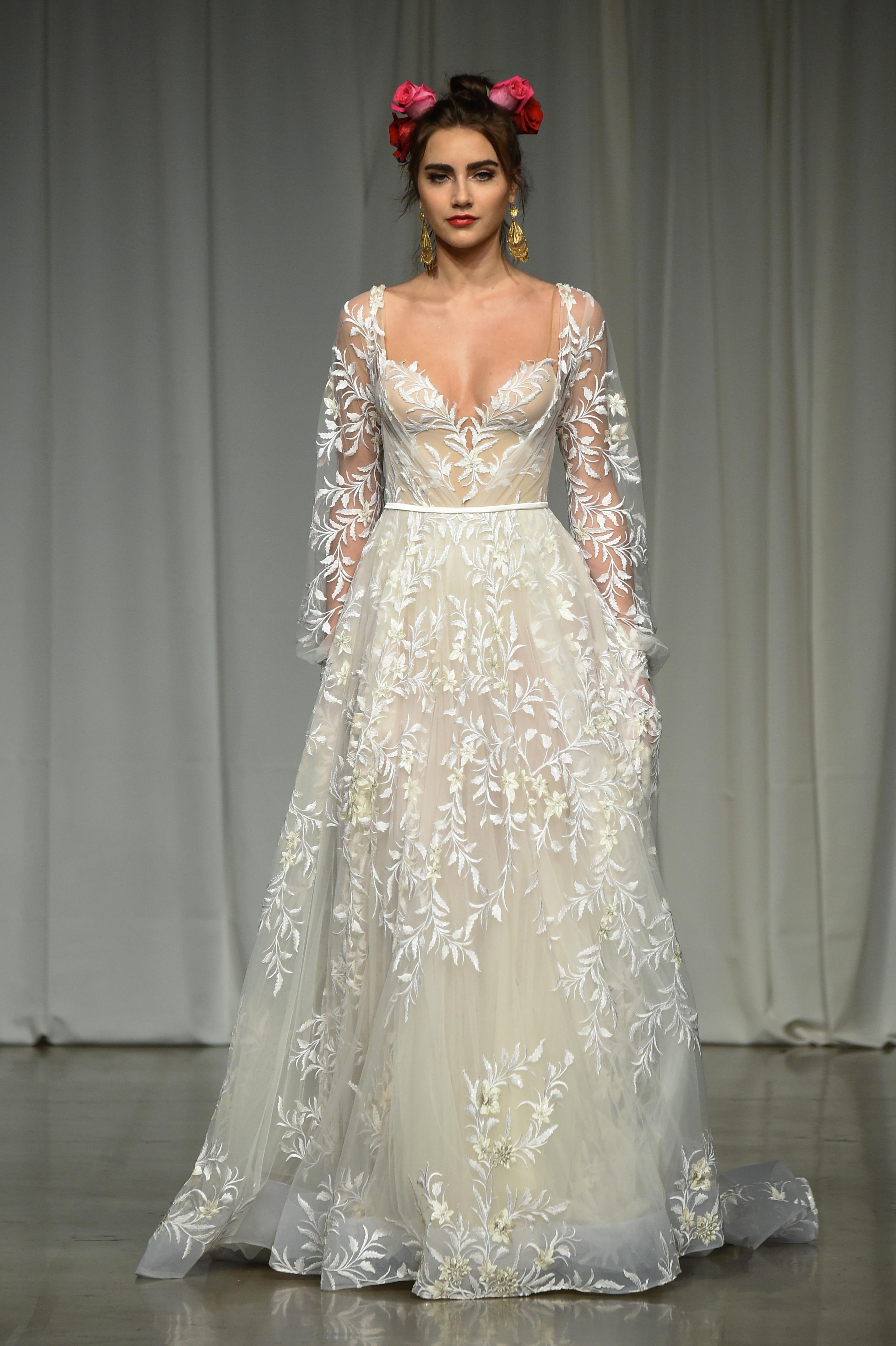 julie vino group fall 2019 sheer long sleeve a-line wedding dress