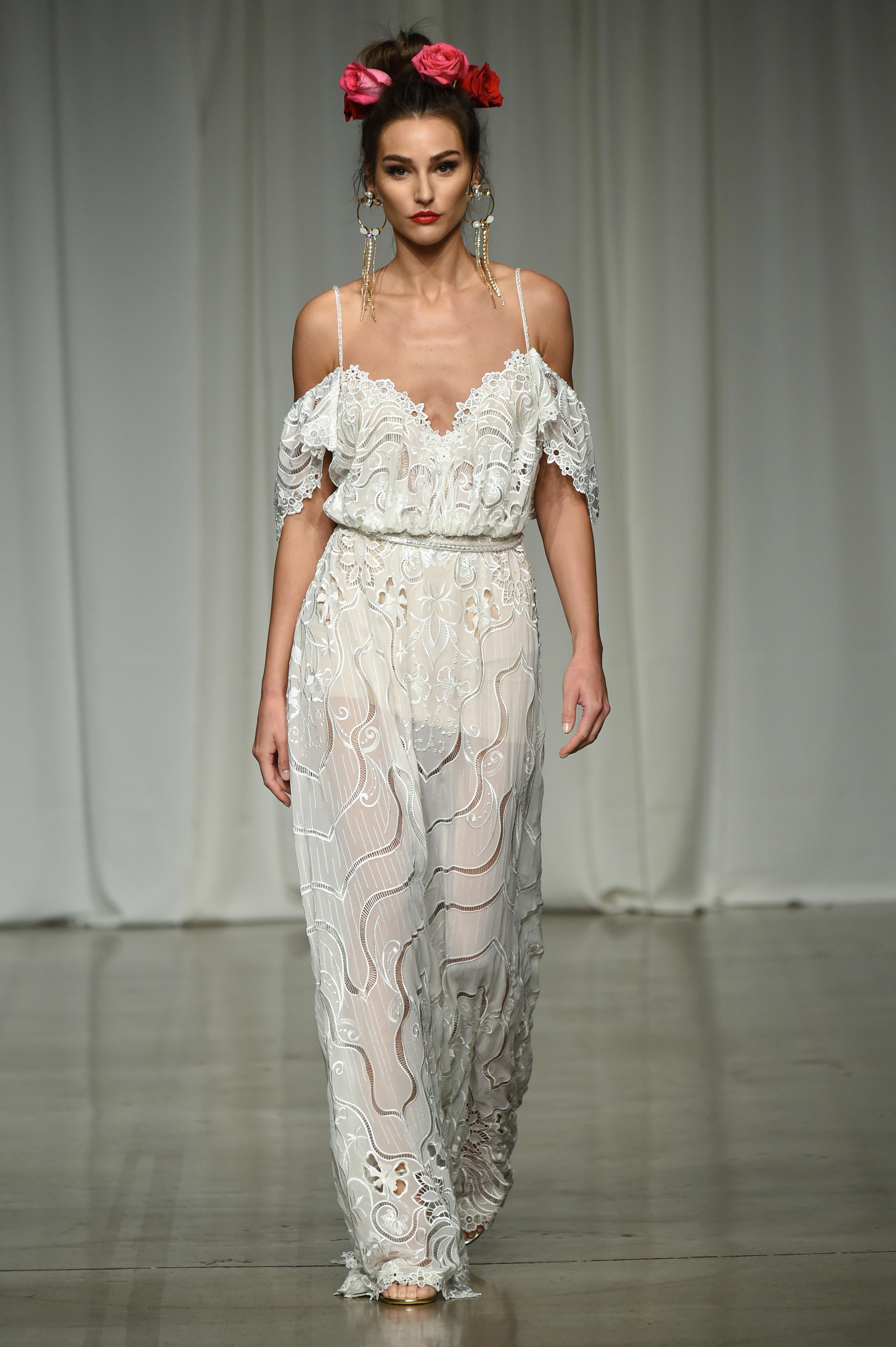 julie vino group fall 2019 over the shoulder spaghetti strap sheer wedding dress