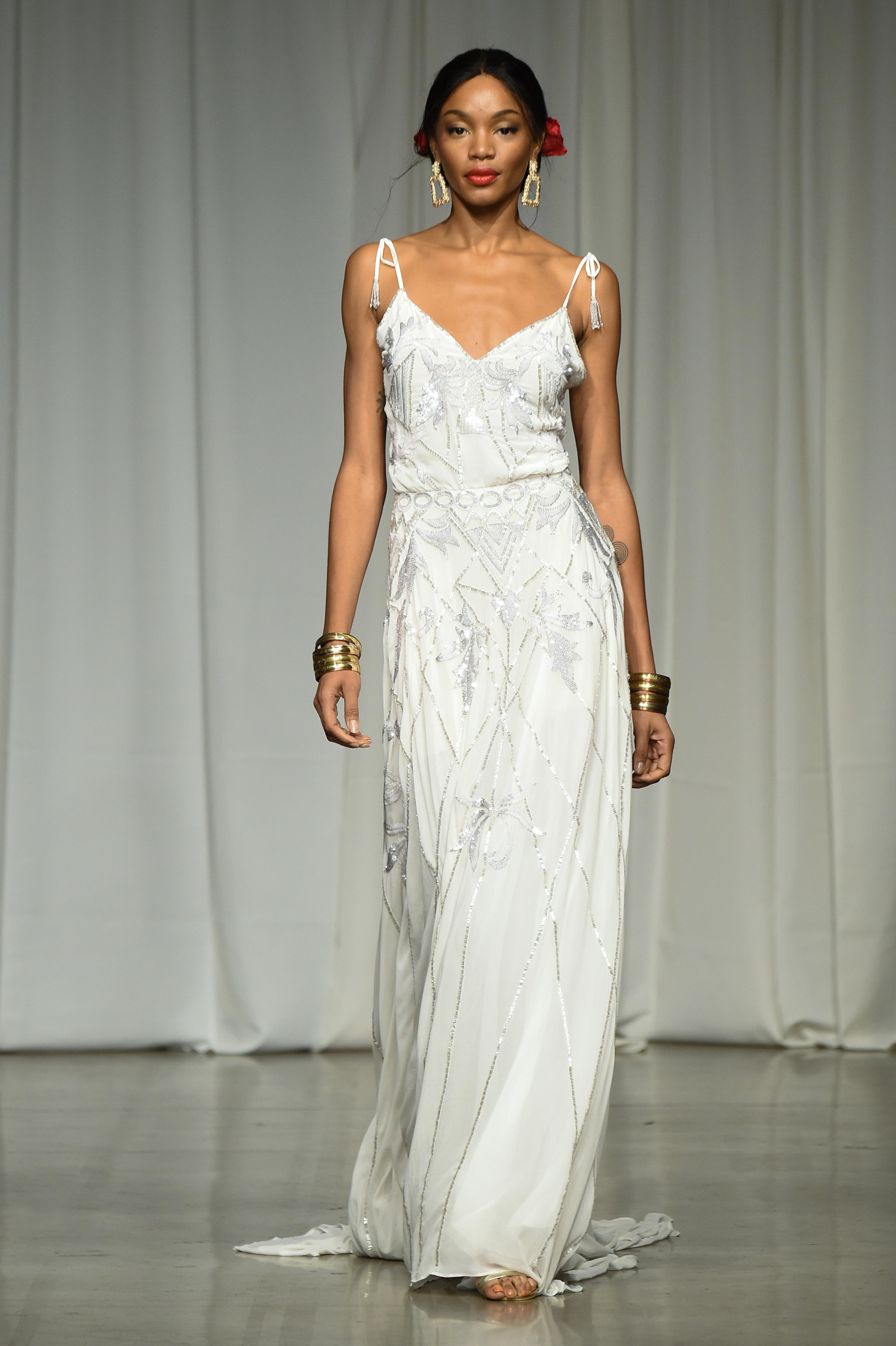 julie vino group fall 2019 sheath spaghetti strap metallic wedding dress