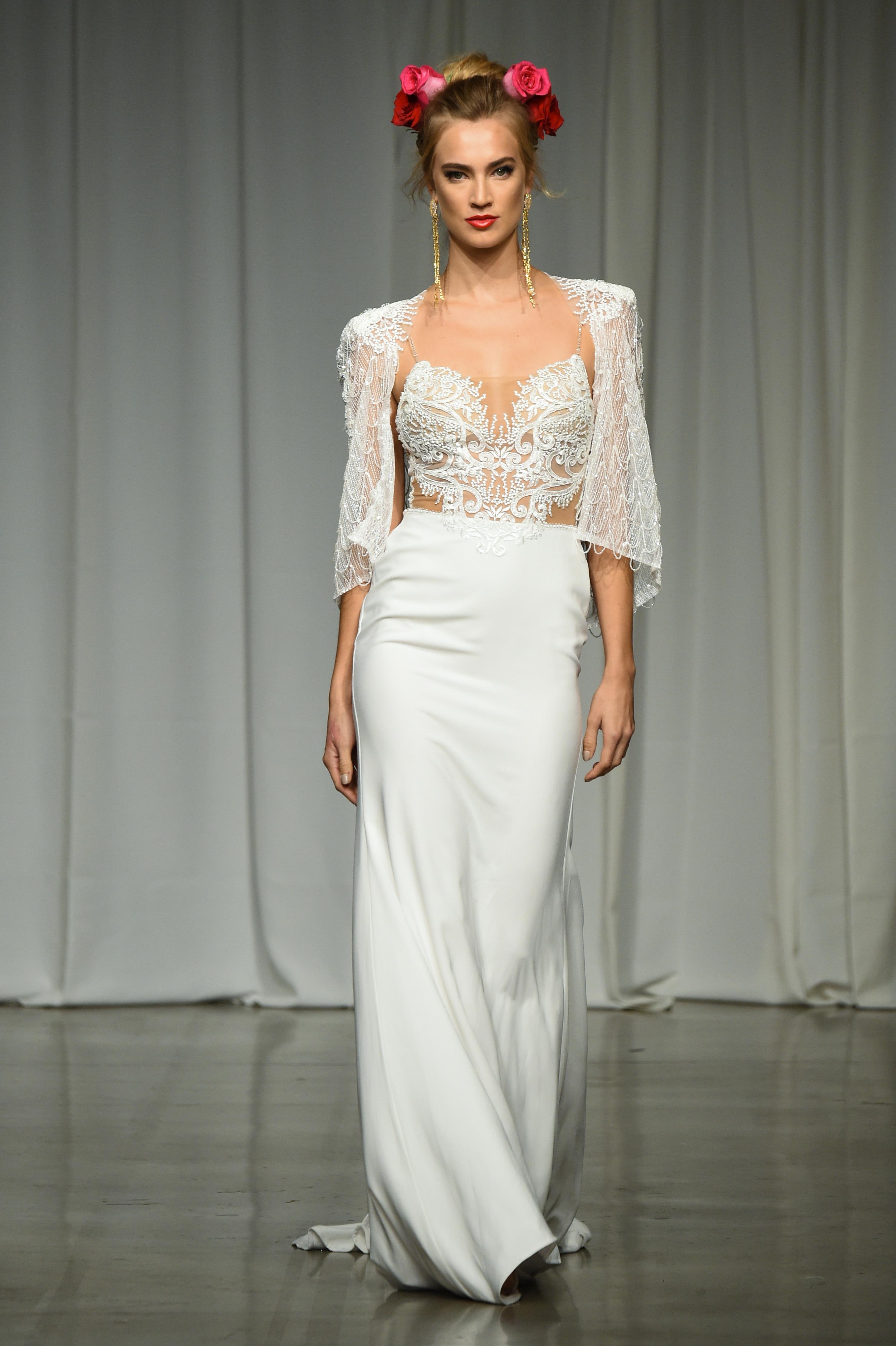 julie vino group fall 2019 sheath spaghetti strap jacket wedding dress