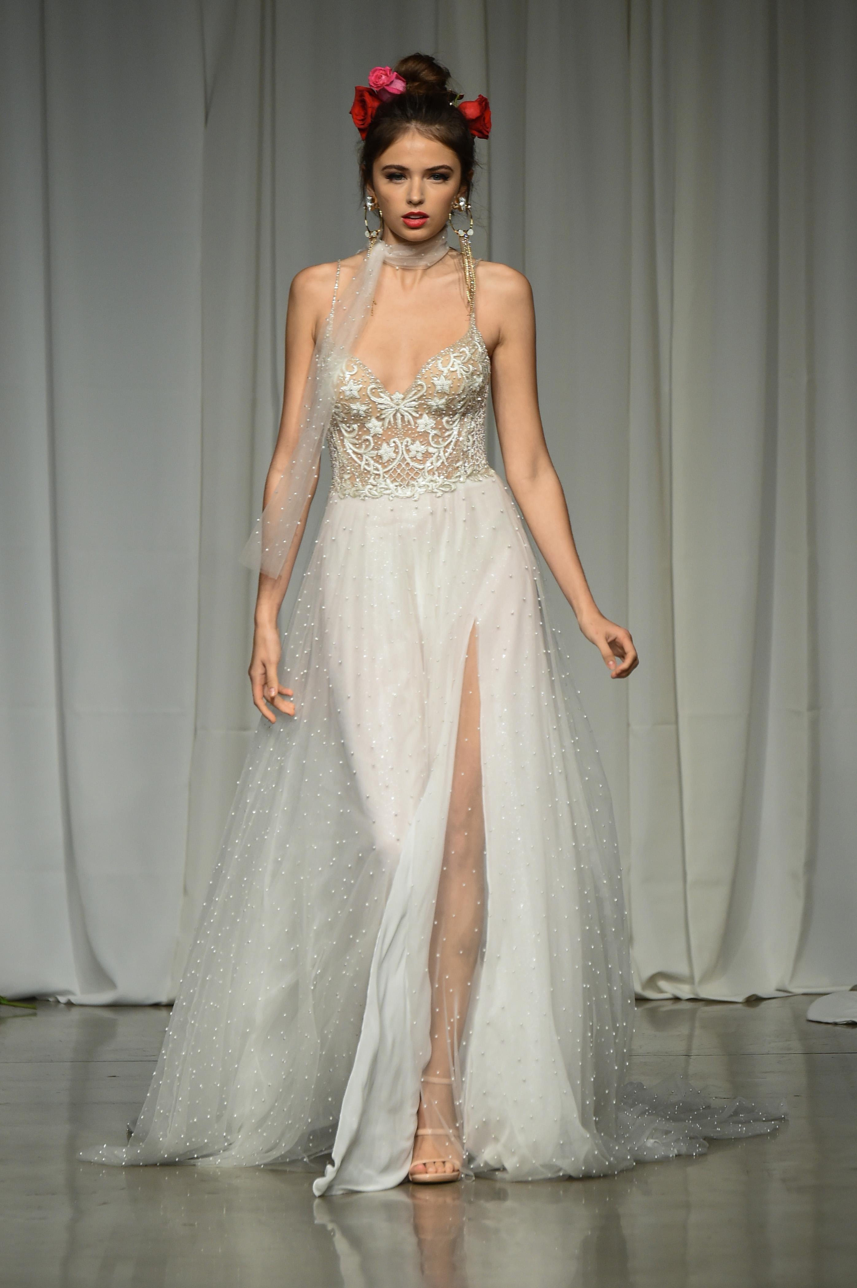 julie vino group fall 2019 high slit spaghetti strap wedding dress