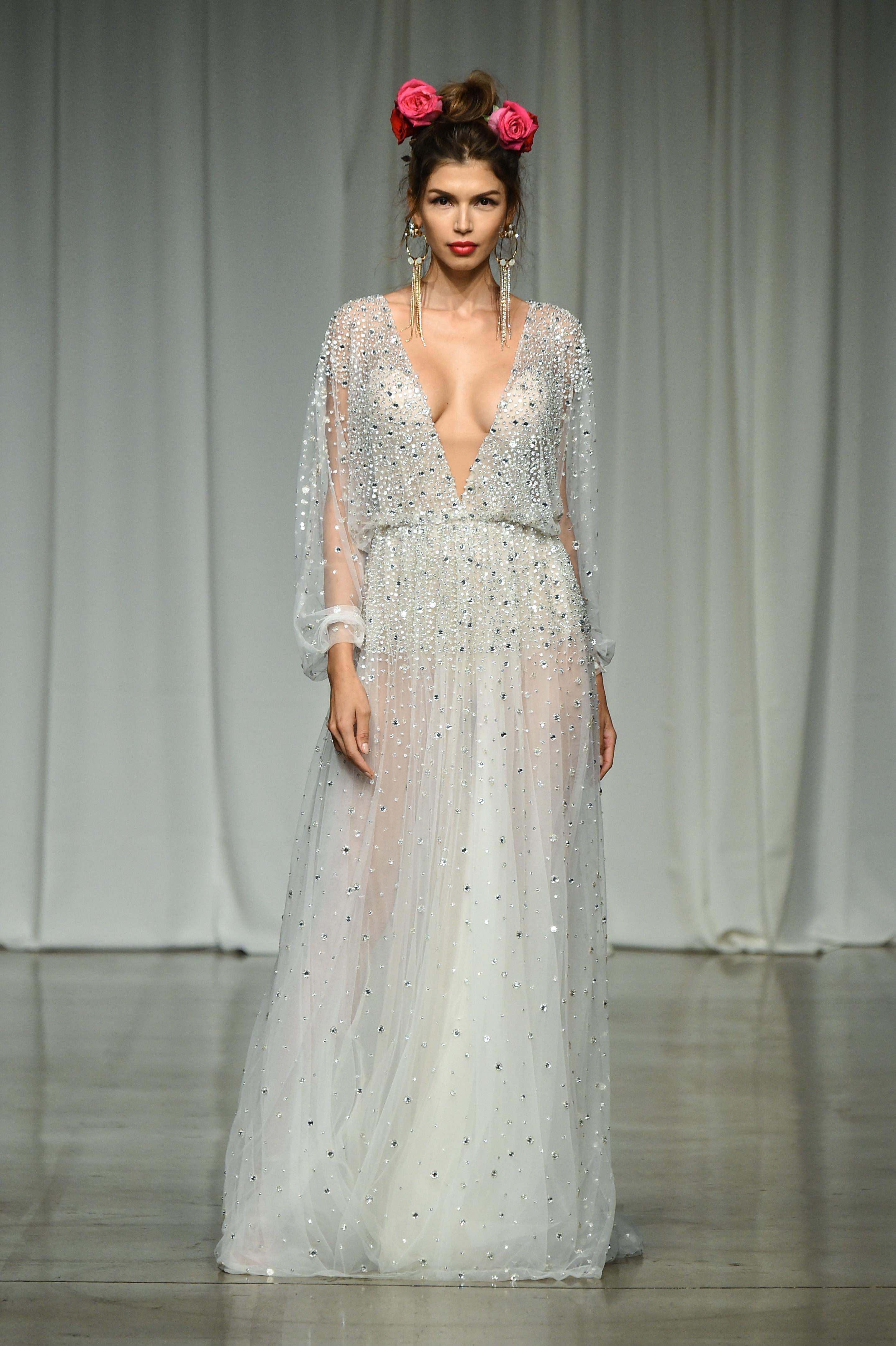 julie vino group fall 2019 long sleeve sheath glitter wedding dress