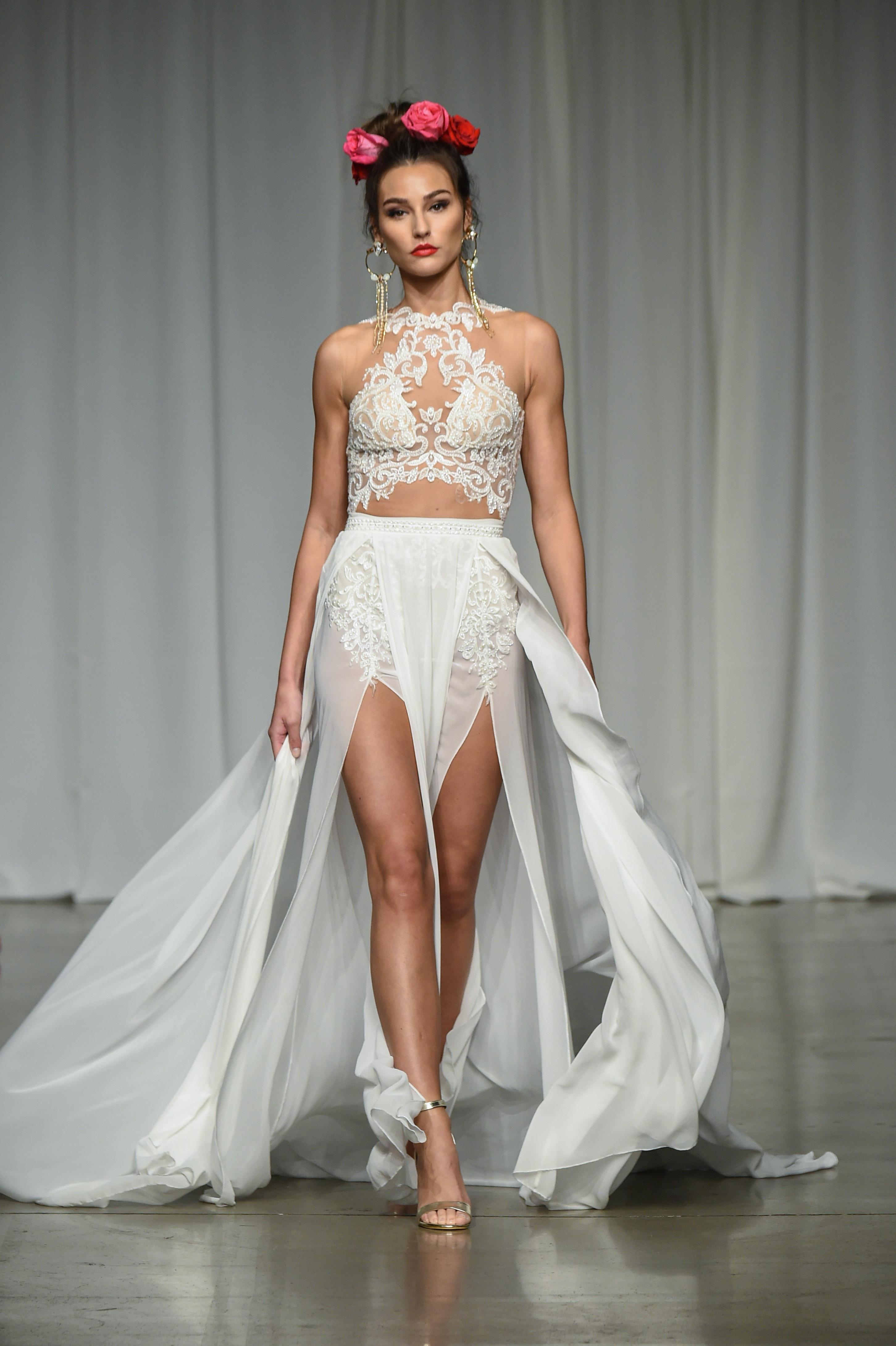 julie vino group fall 2019 high neck short overskirt wedding dress