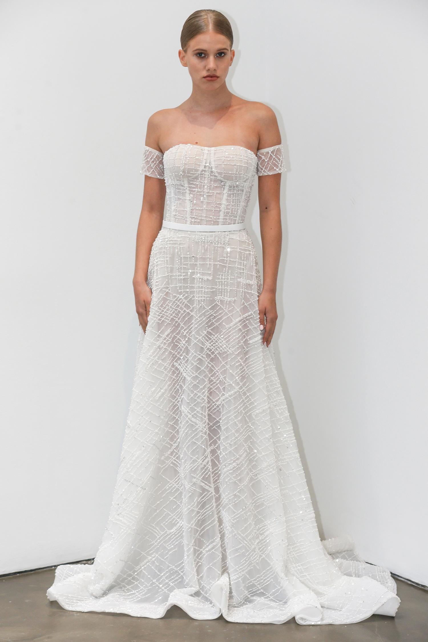 lee petra grebenau fall 2019 glittery off the shoulder a-line gown