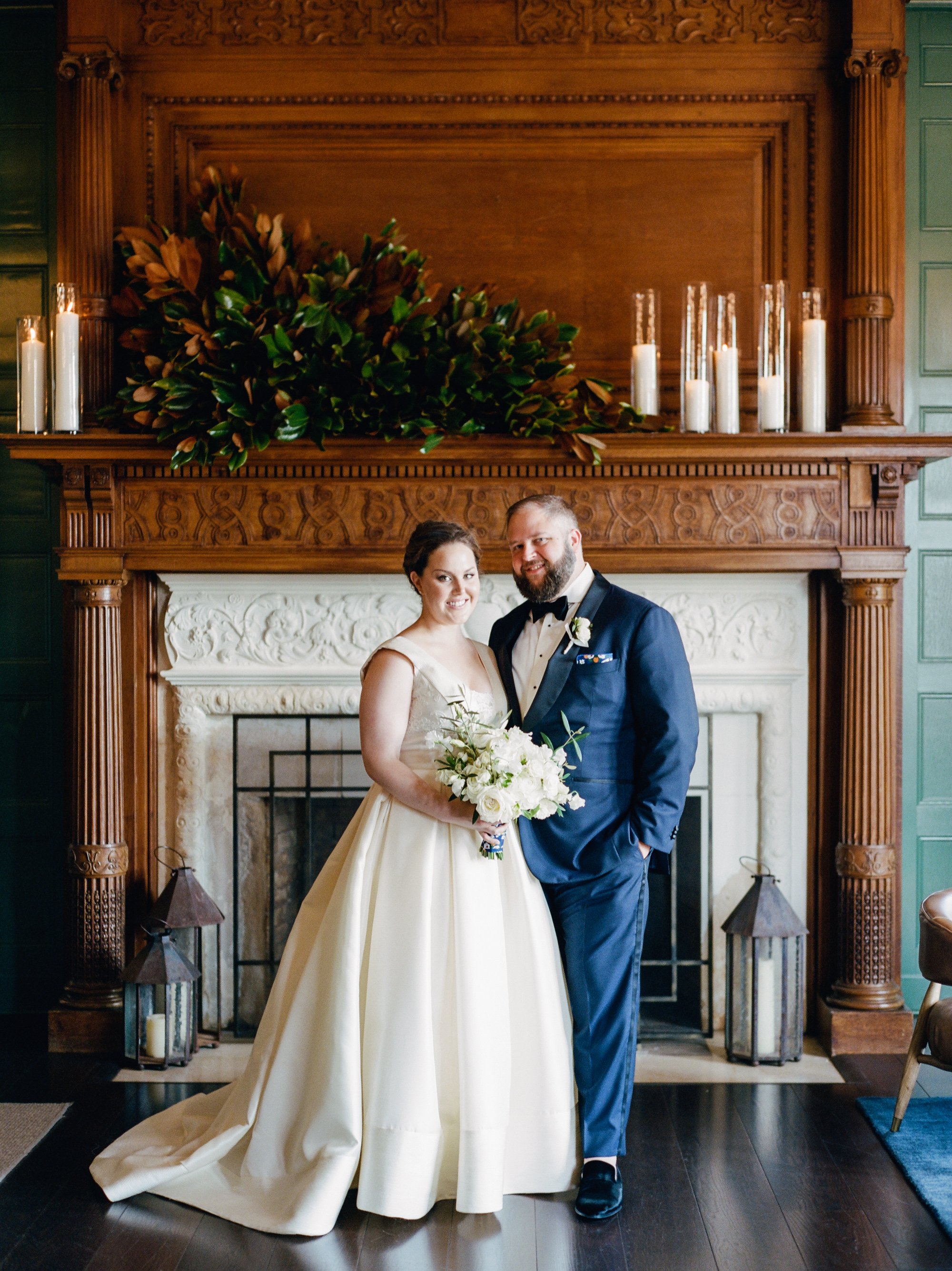 kelly drew new jersey wedding couple in front of fire place