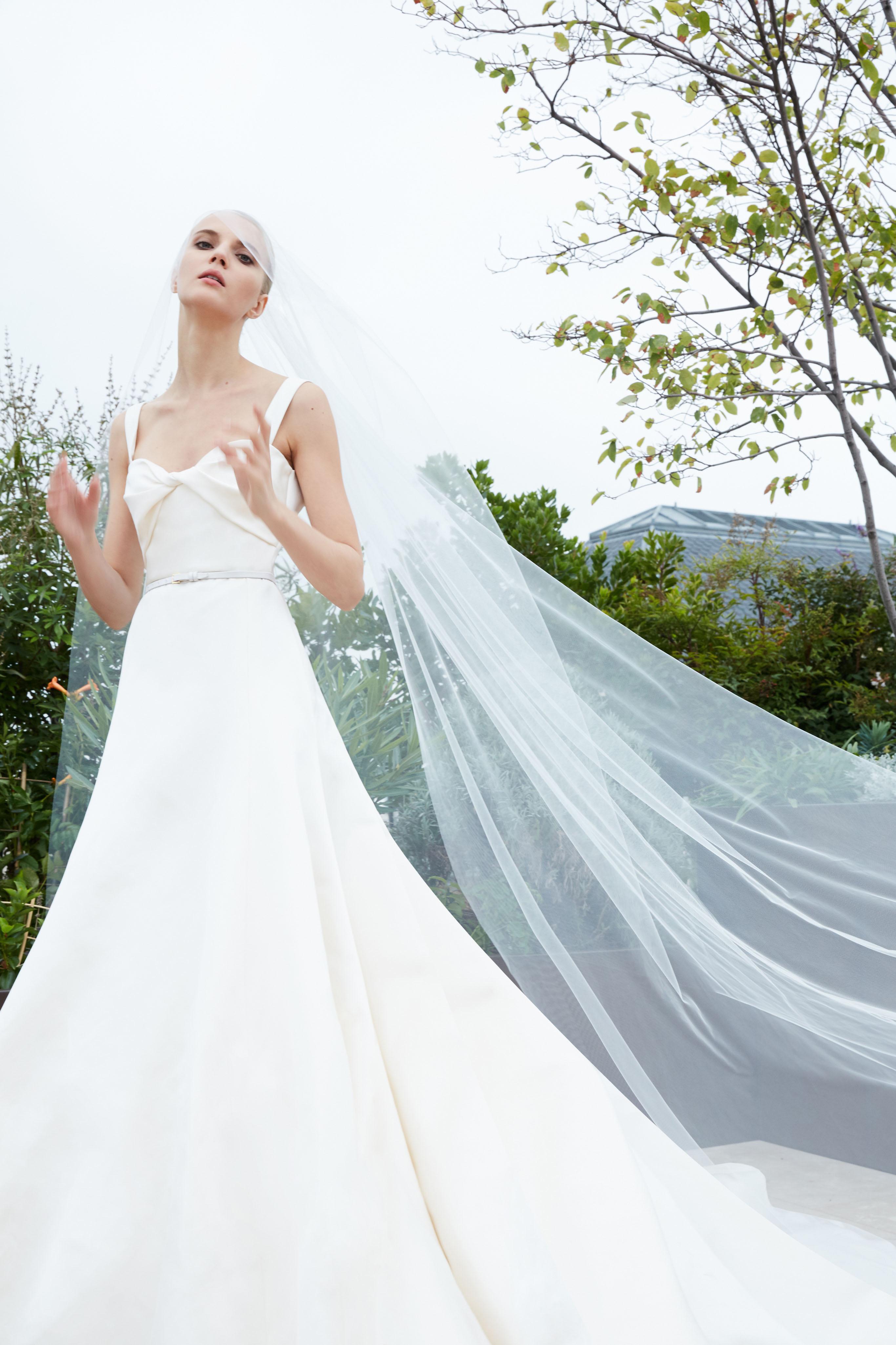 elie saab fall 2019 spaghetti strap trumpet with belt wedding dress