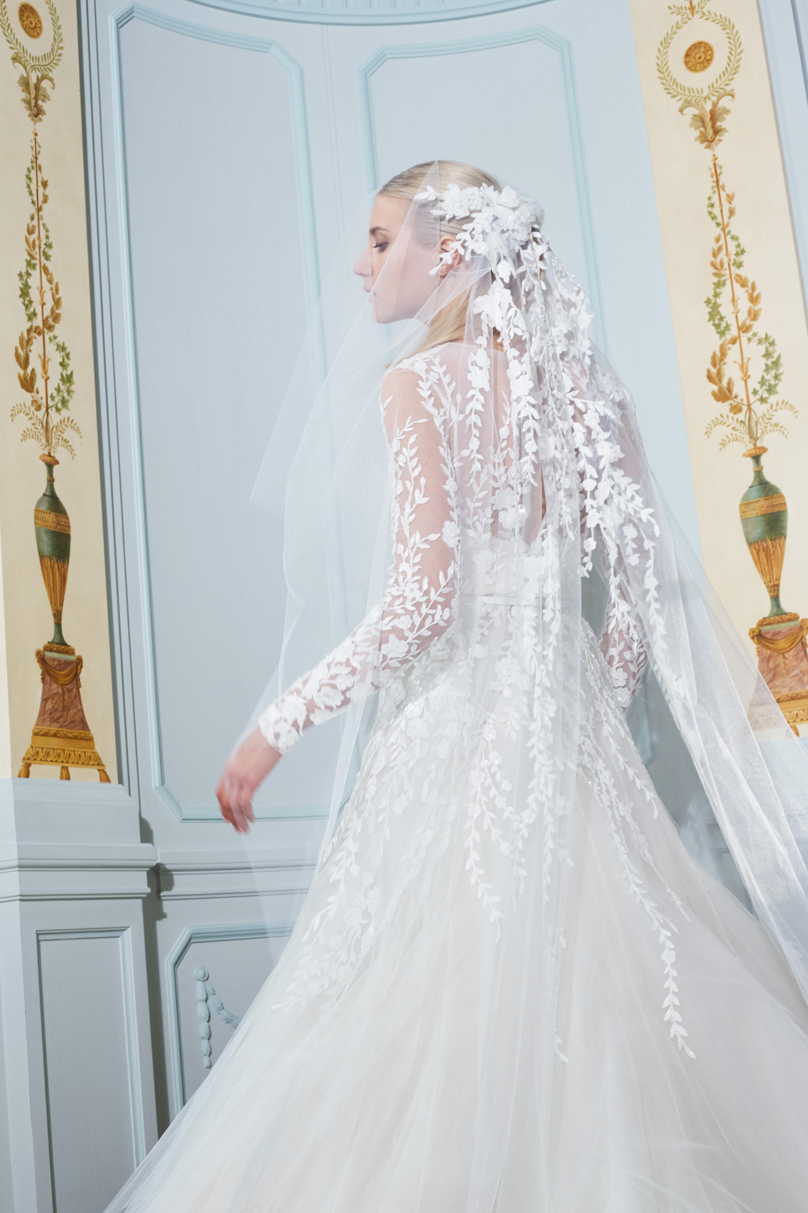 elie saab fall 2019 illusion high neckline floral applique sheath wedding dress