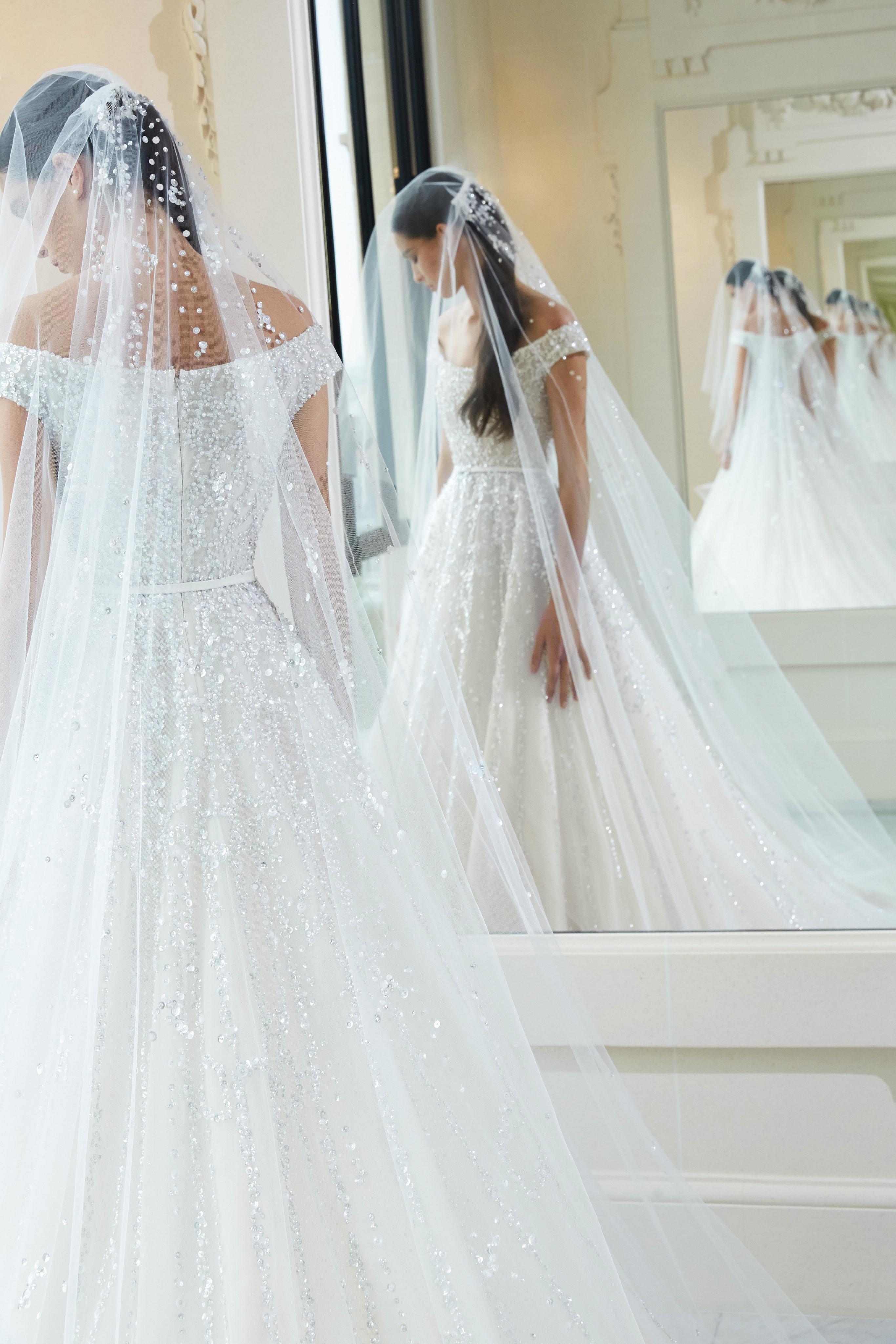 elie saab fall 2019 off the shoulder glitter wedding dress