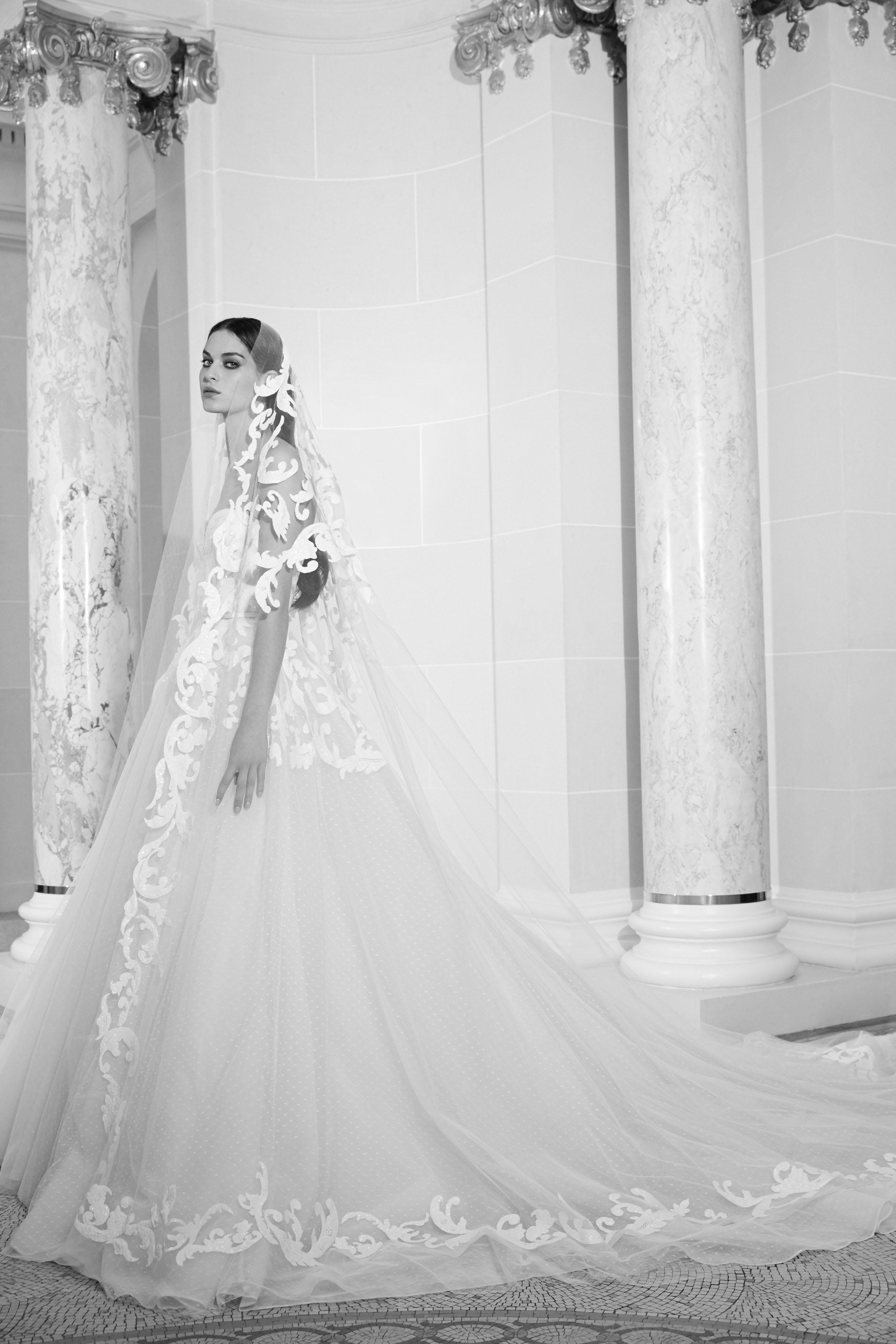 elie saab fall 2019 sheath ball gown wedding dress