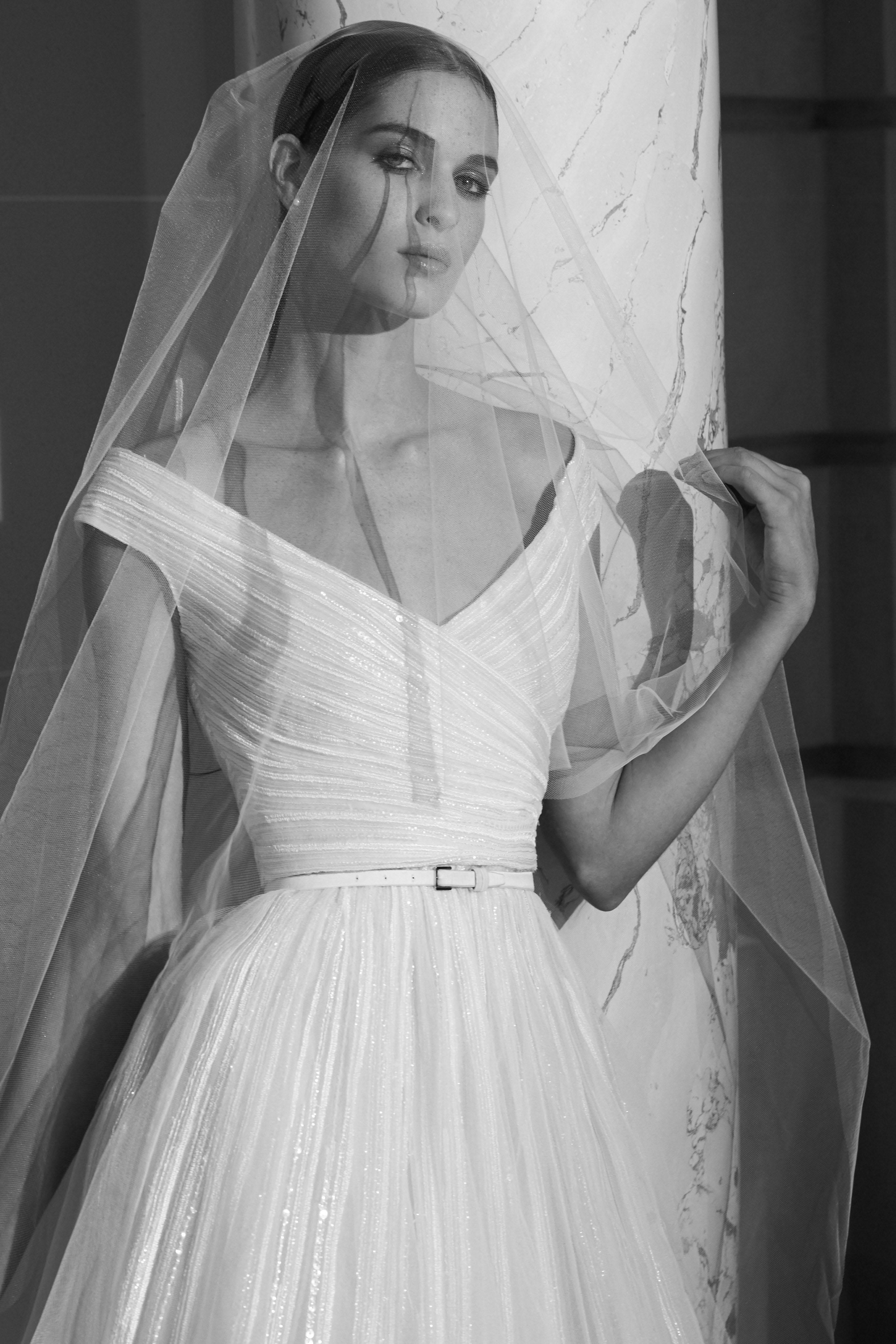 elie saab fall 2019 off the shoulder v-neck wedding dress