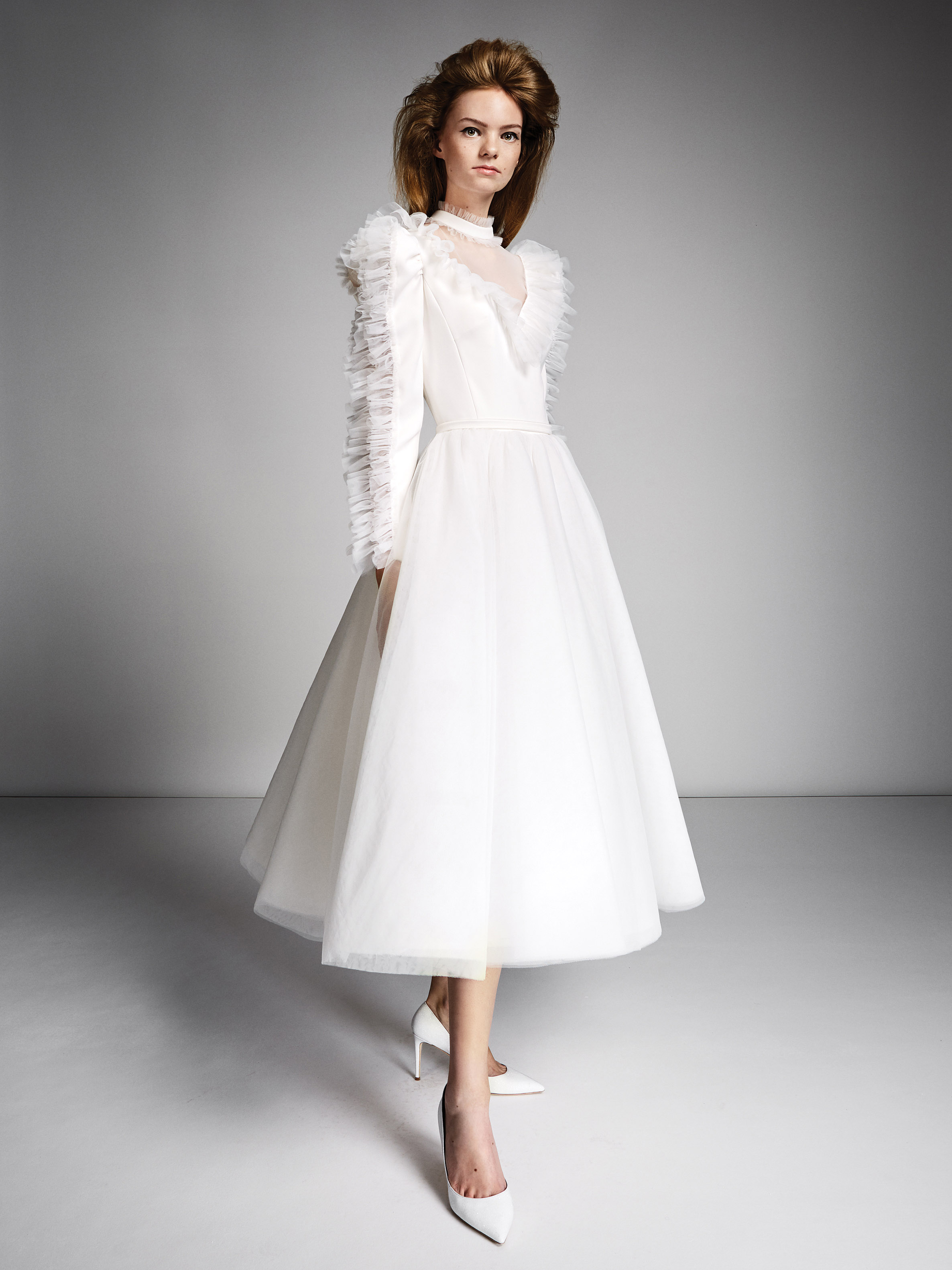 viktor rolf marriage fall 2019 turtle neck long sleeve tea length a-line gown with ruffles
