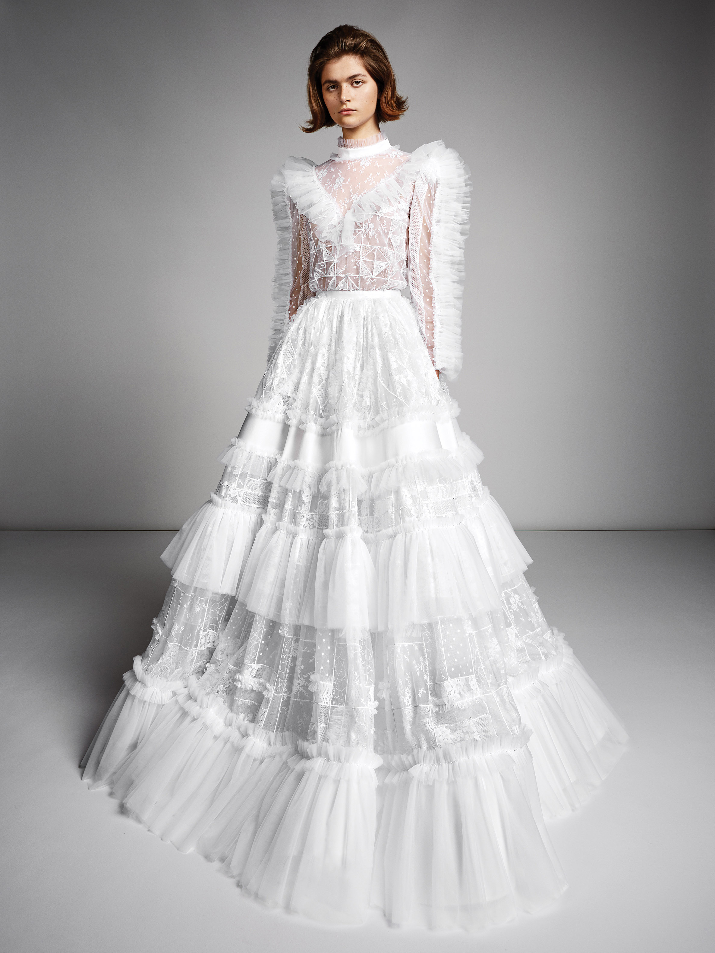 viktor rolf marriage fall 2019 long sleeve turtleneck a-line gown with ruffles