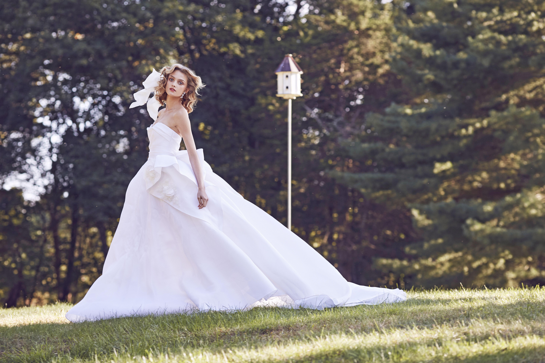 Marchesa off the shoulder sweetheart wedding dress fall 2019
