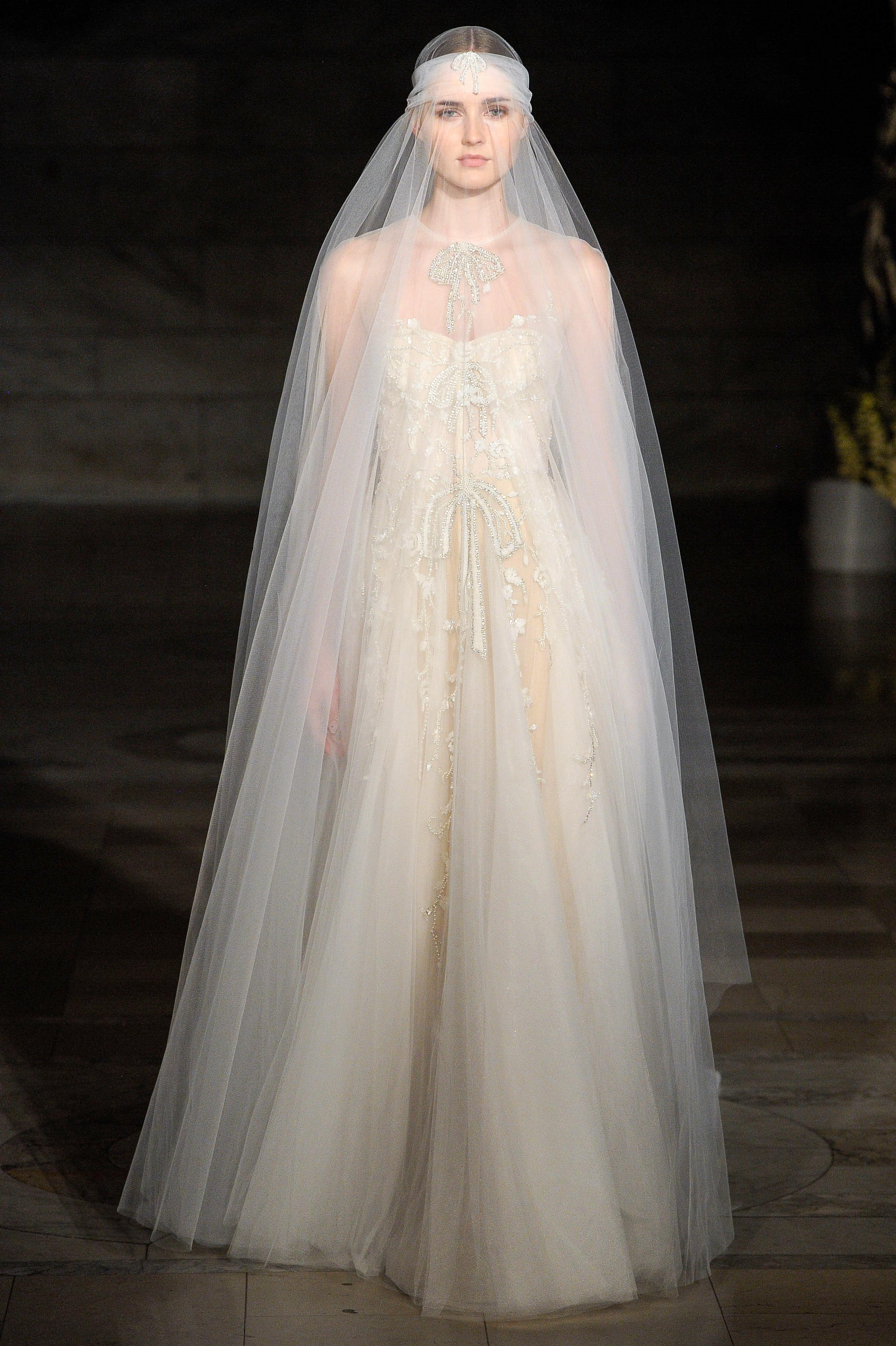 reem acra fall 2019 sheath strapless beaded wedding dress