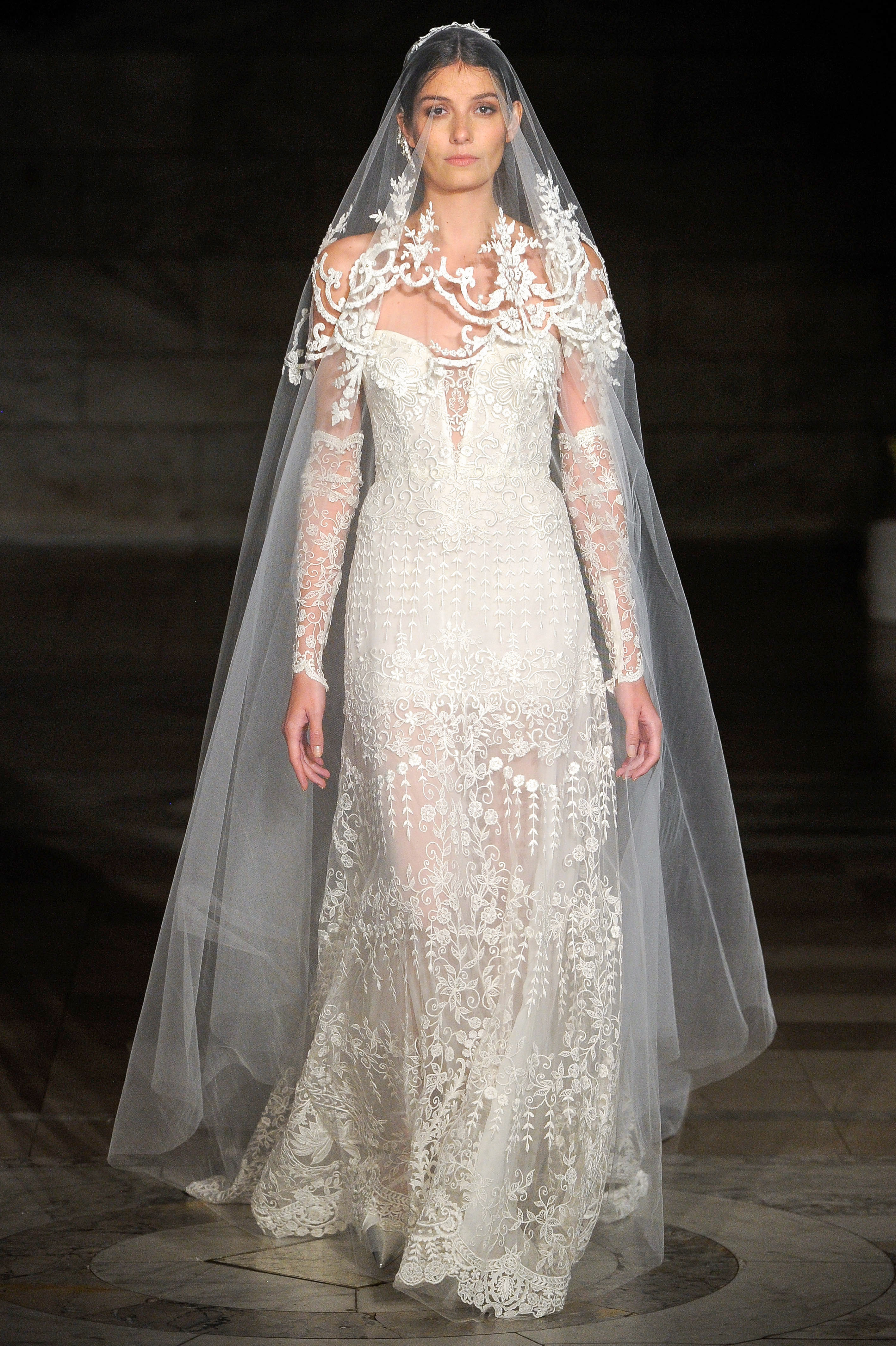 reem acra fall 2019 sheath sheer wedding dress
