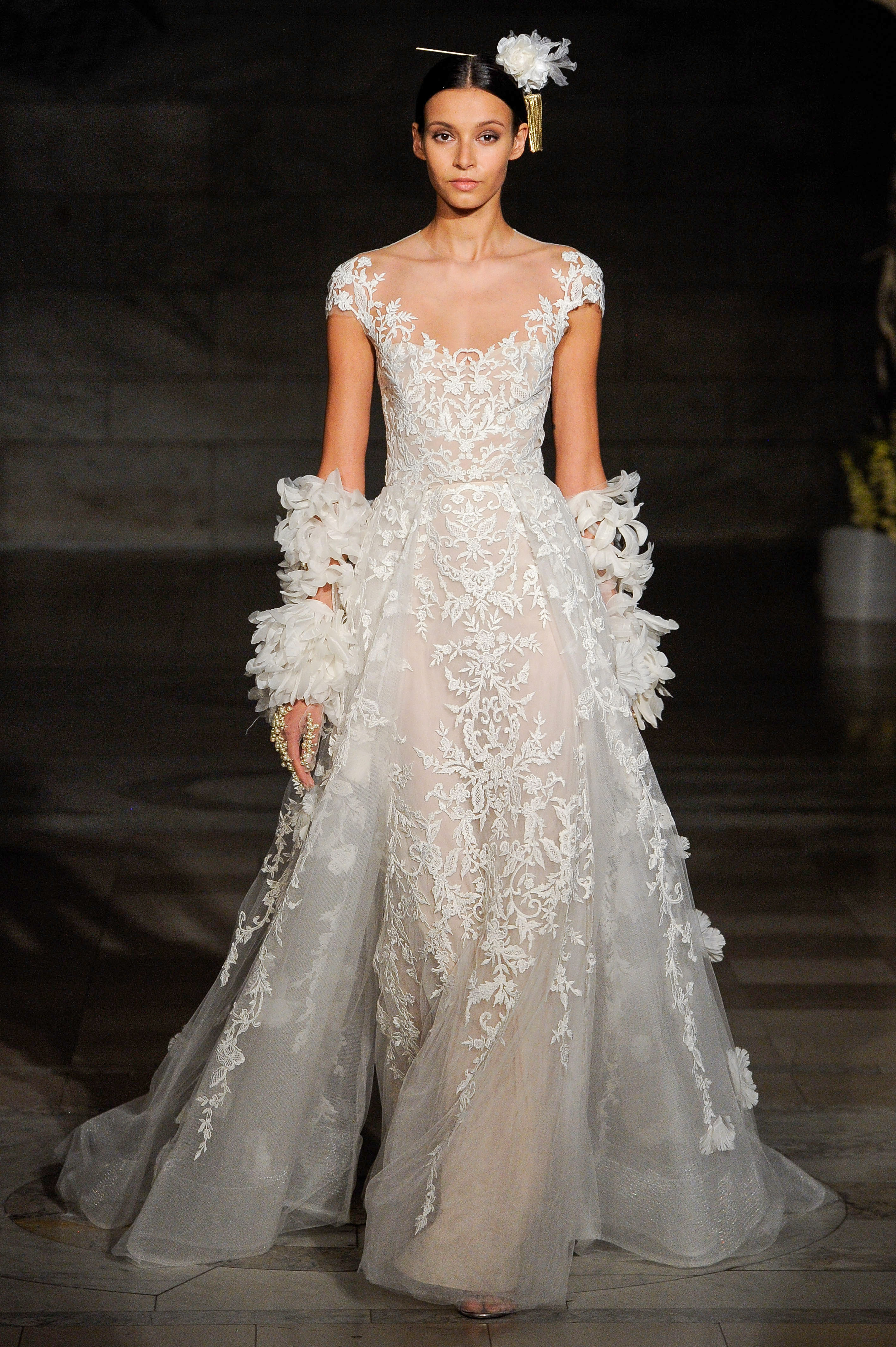 reem acra fall 2019 sheath illusion high neckline wedding dress