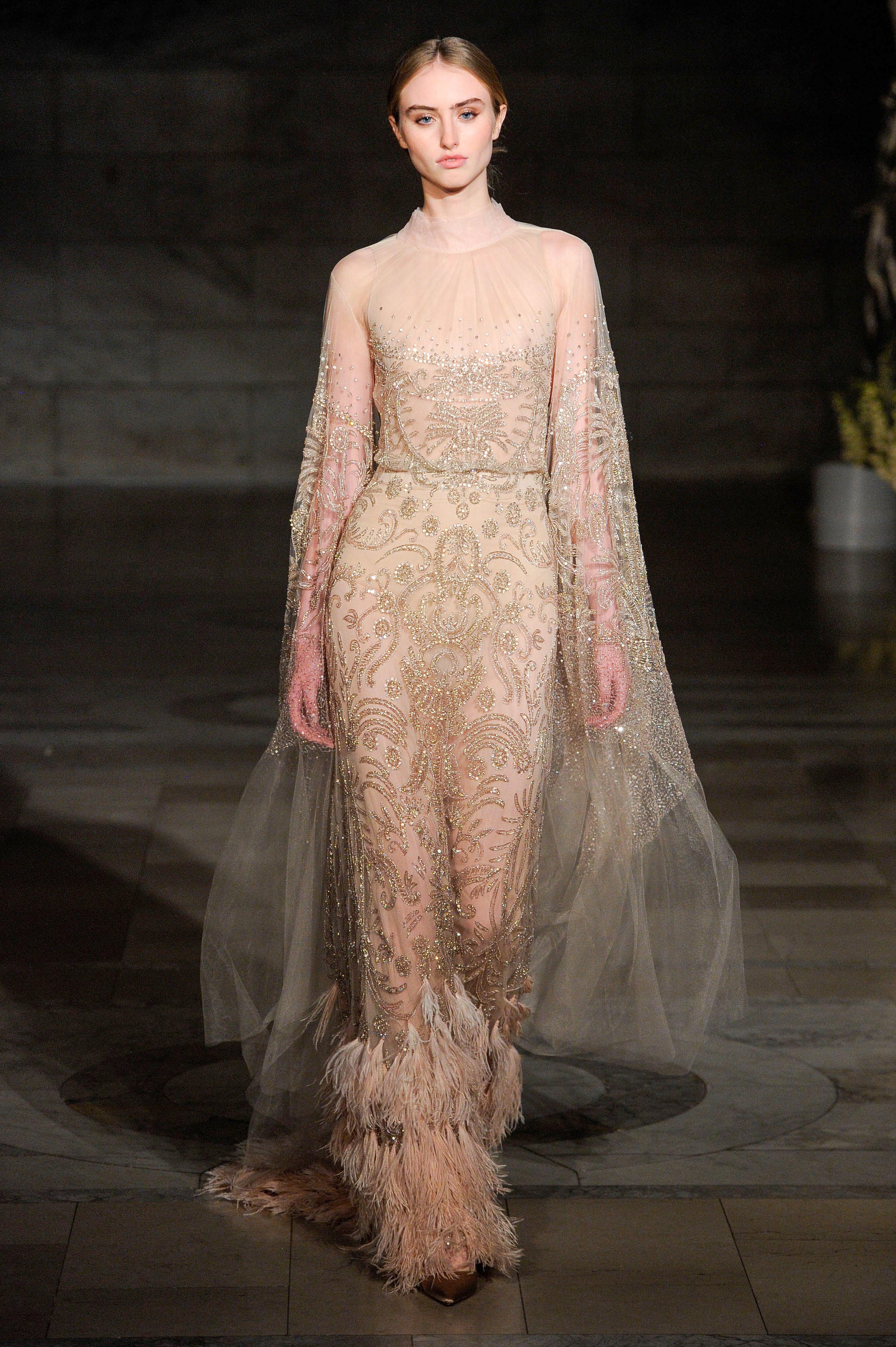 reem acra fall 2019 pink jumpsuit beaded fringe wedding dress