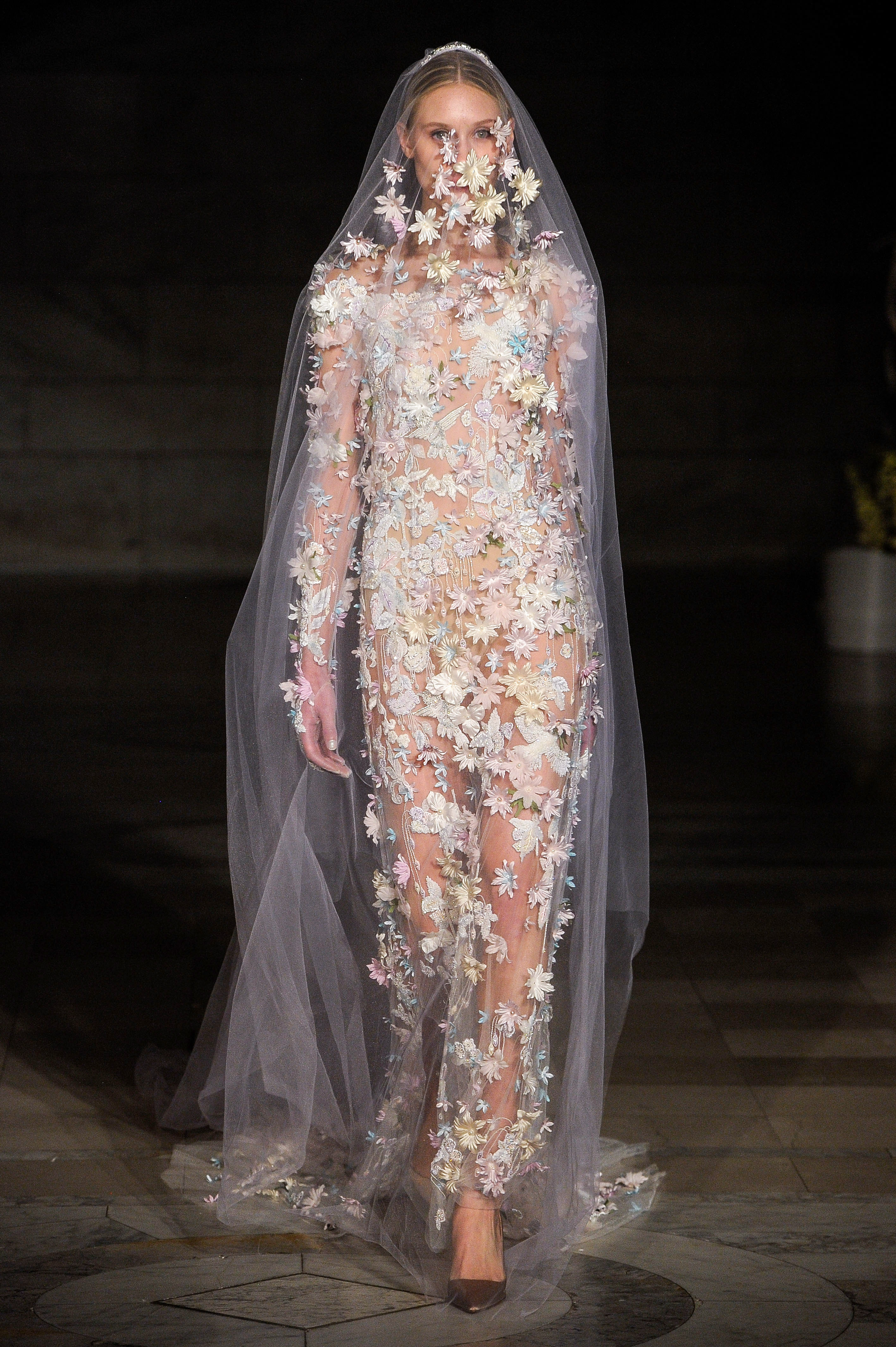 reem acra fall 2019 sheer sheath floral applique wedding dress