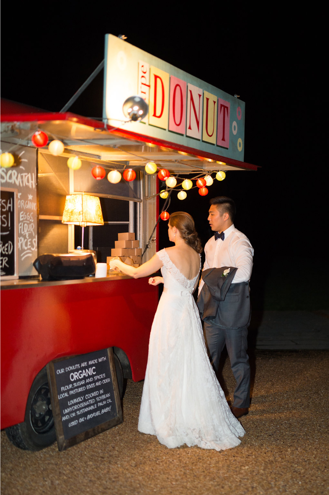 after party decor bride and groom at donut food truck