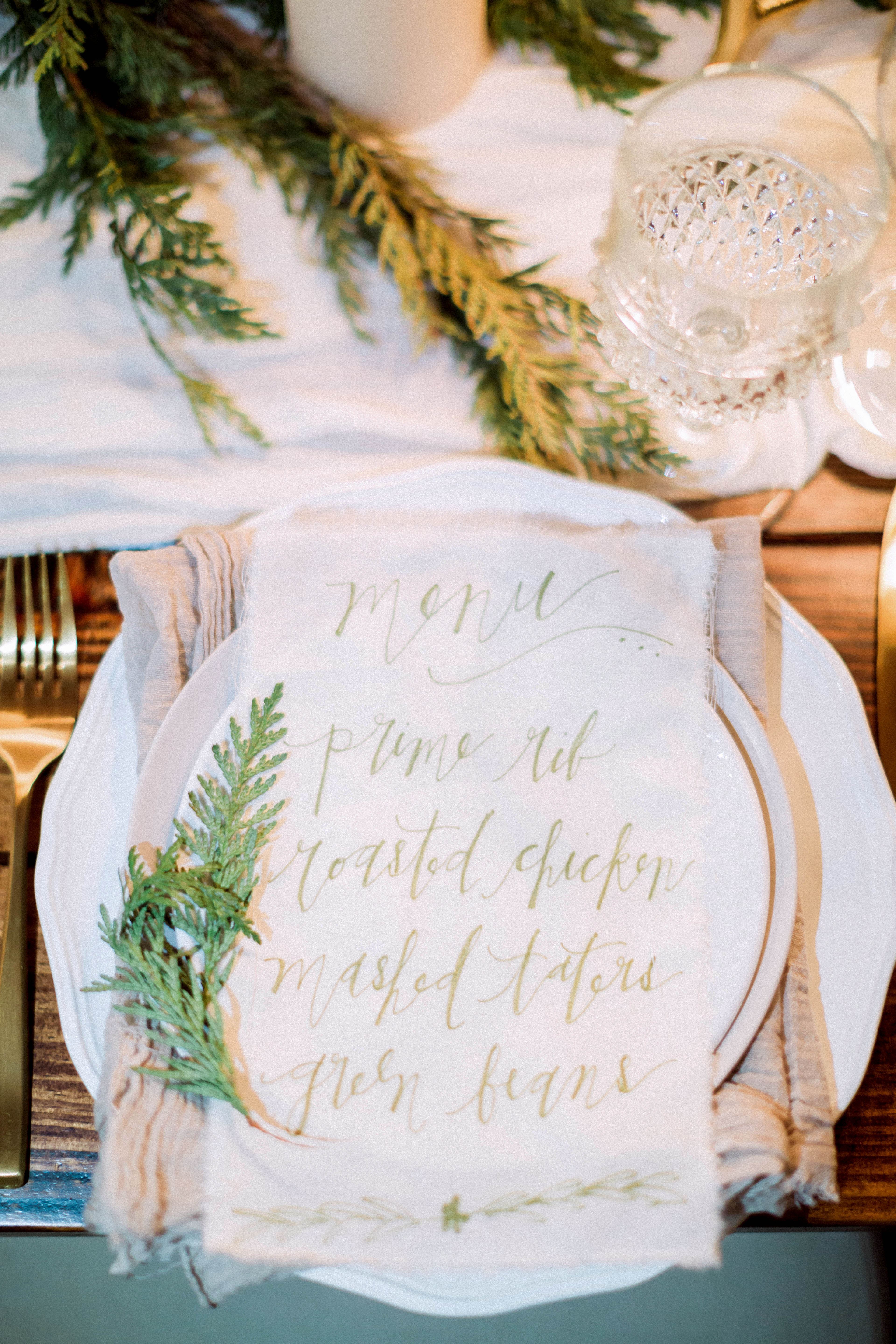 winter rehearsal dinner event menu place setting