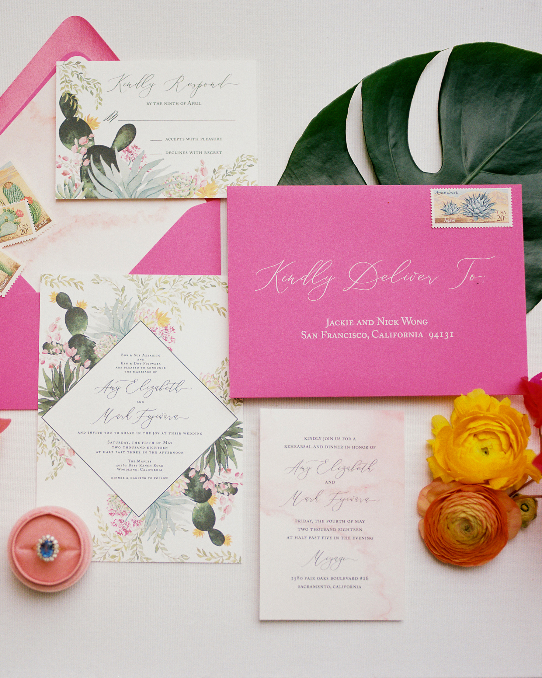 amy mark california invitation pink