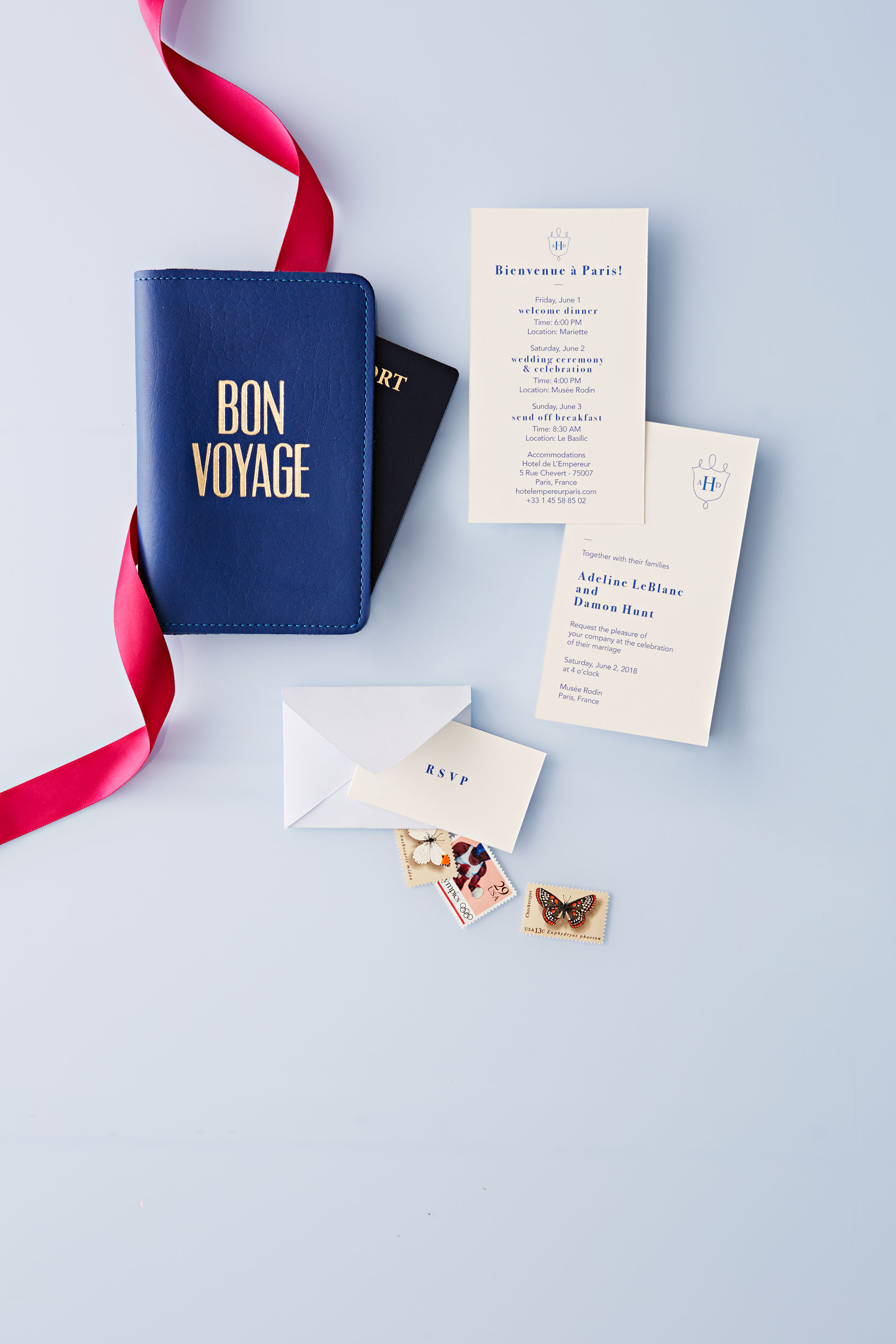 travel-themed wedding invitation