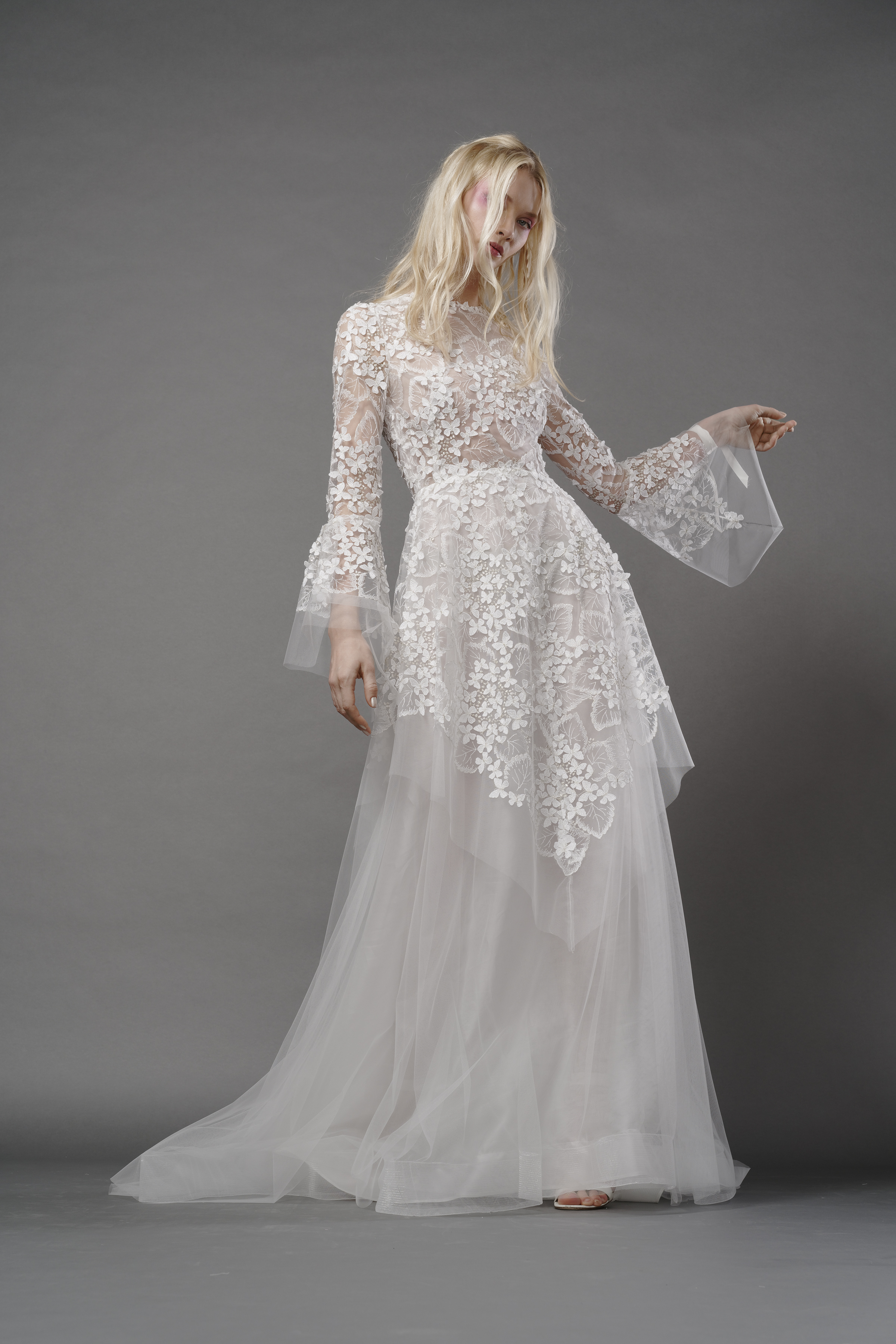 elizabeth fillmore fall 2019 sheer a line high neck long bell sleeves lace overlay