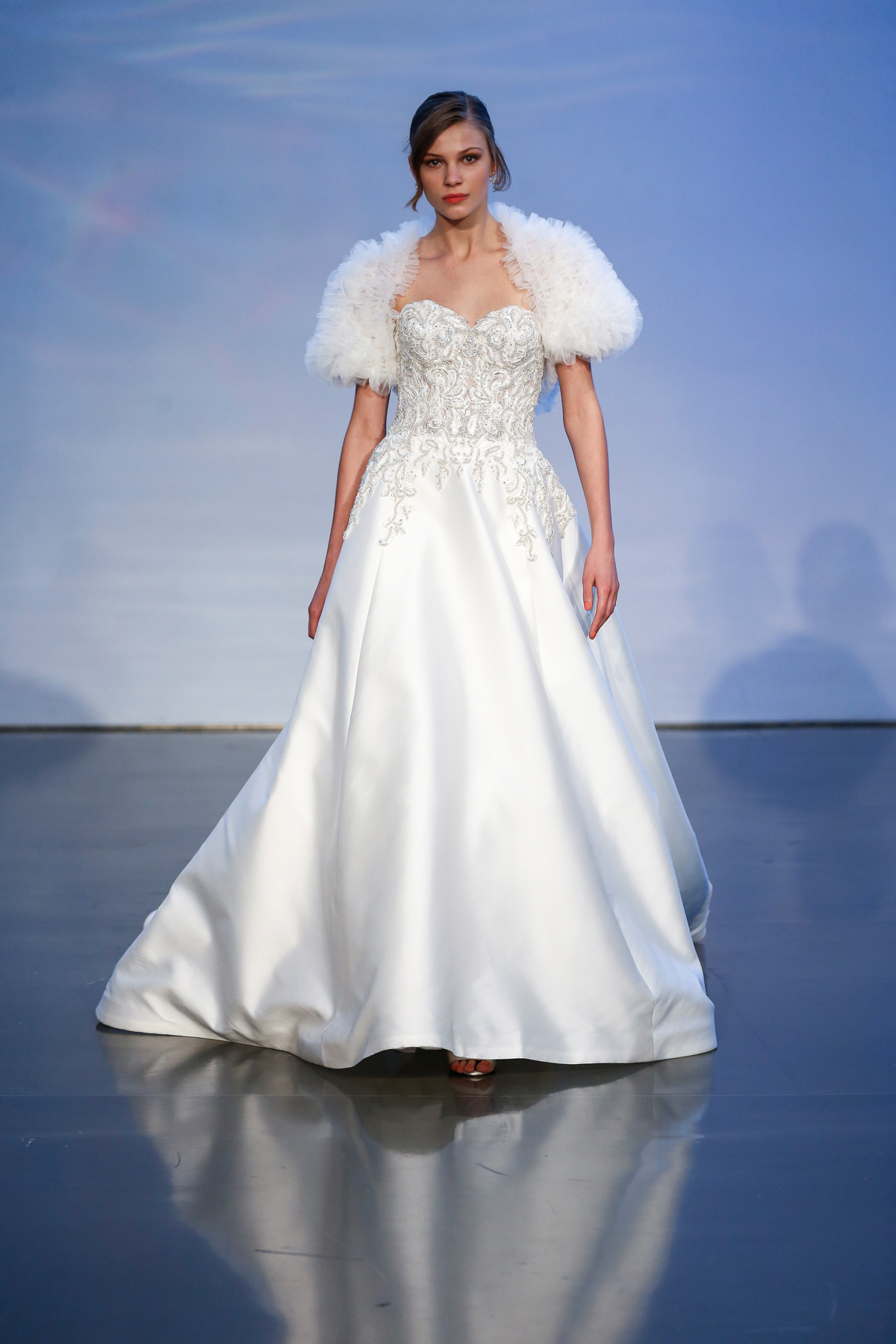 justin alexander signature fall 2019 beaded sweetheart ball gown with ruffled tulle short sleeves